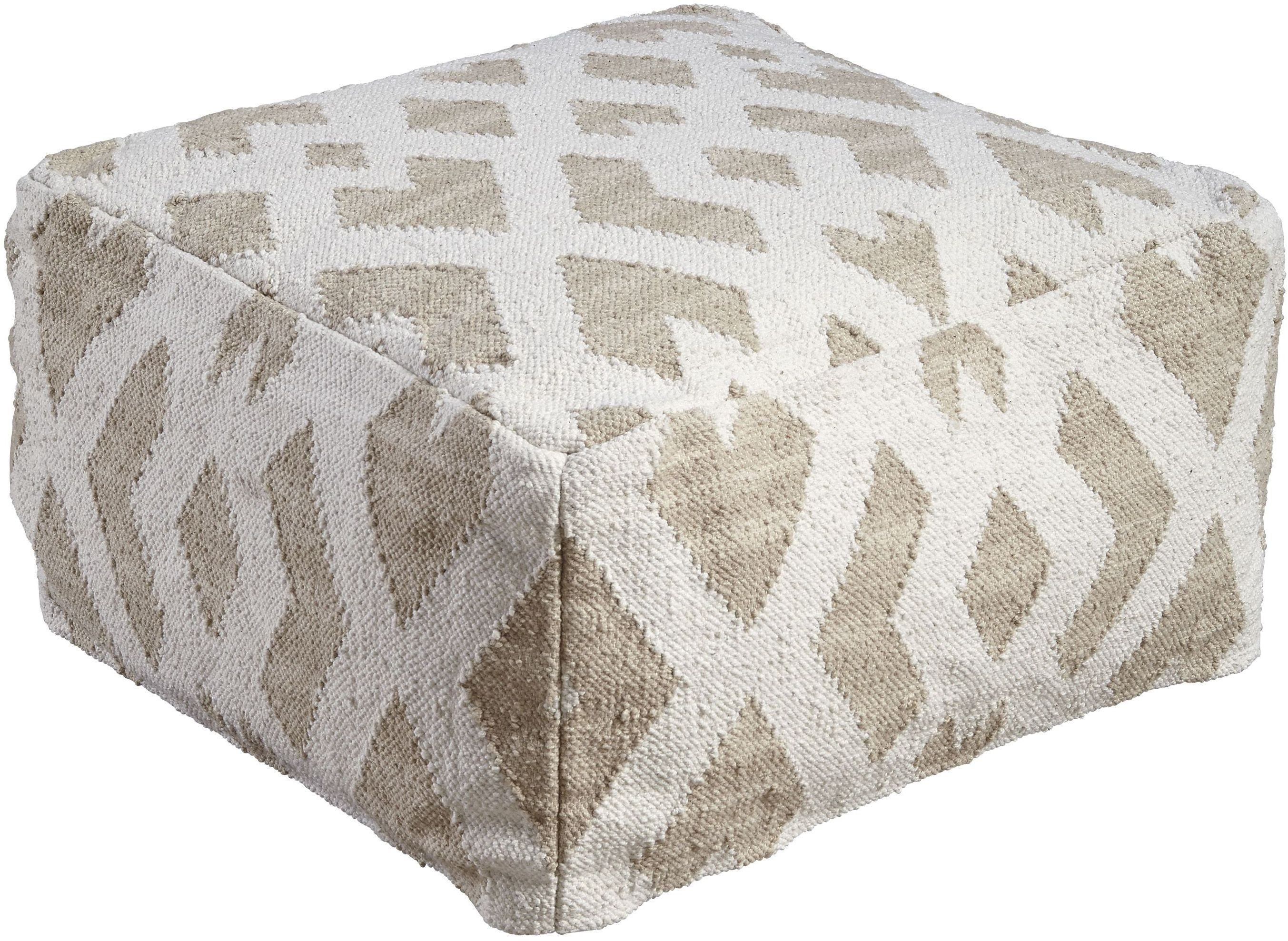badar taupe and white pouf a1000375 ashley. Black Bedroom Furniture Sets. Home Design Ideas