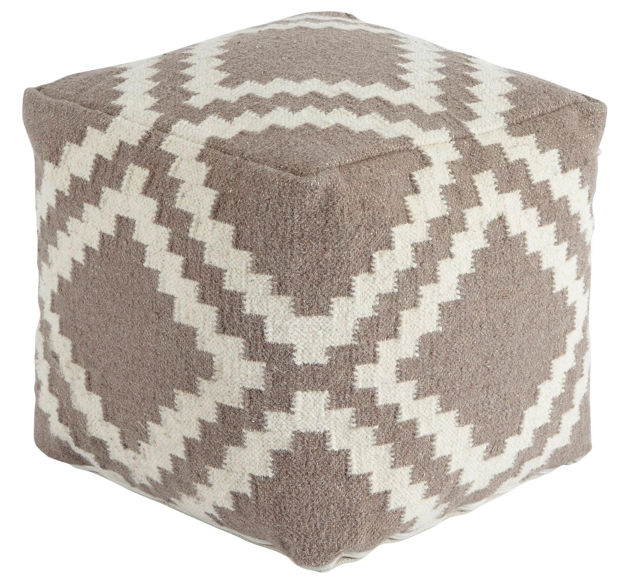 Ashley Furniture Louisville Kentucky: Geometric Gray/White Pouf From Ashley (A1000418)