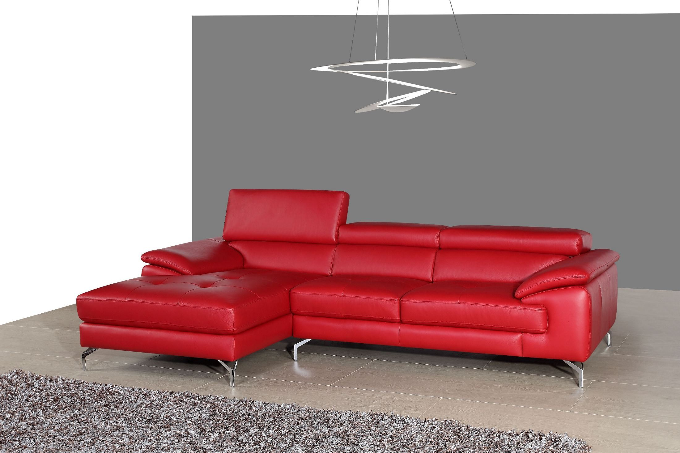 A973b red italian leather mini laf chaise sectional from j for Italian leather sectional sofa chaise