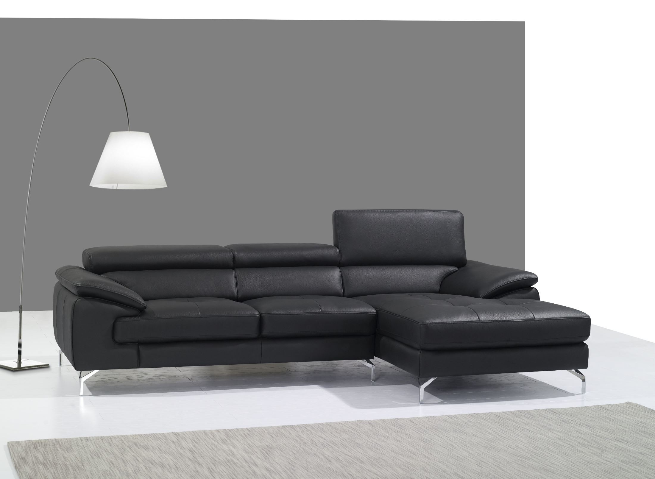 A973b black italian leather mini raf chaise sectional from for Black sectional with chaise