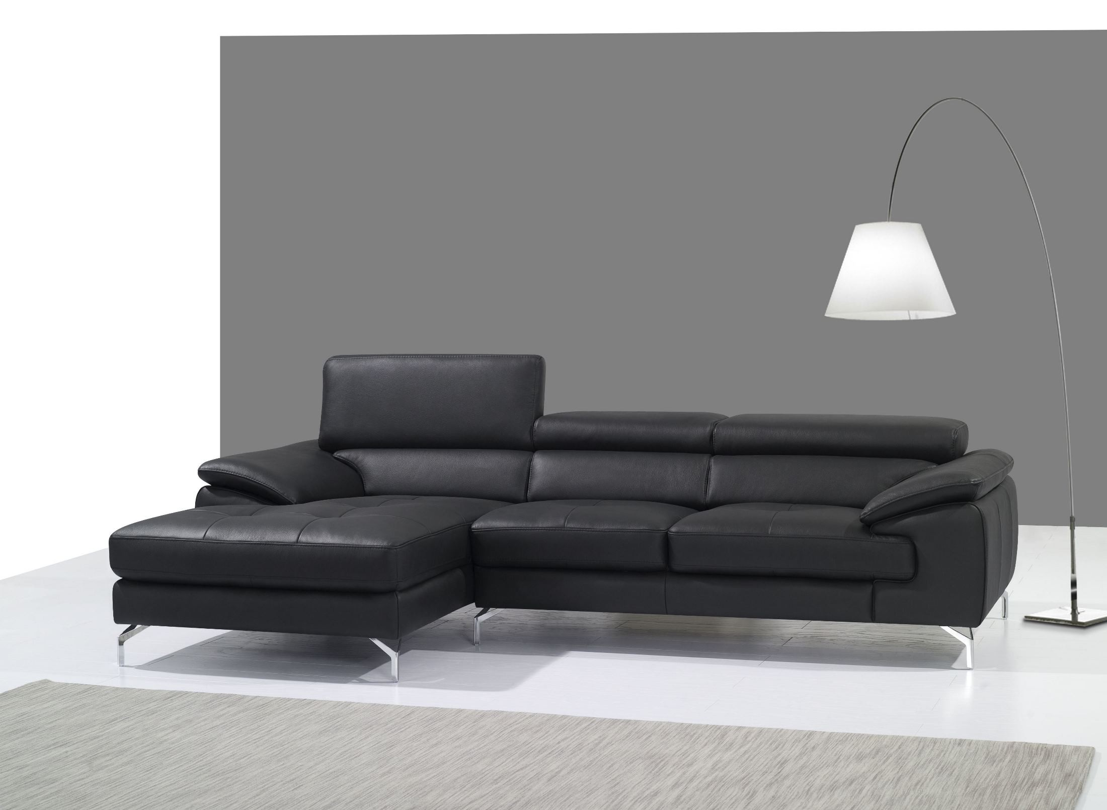 A973b black italian leather mini laf chaise sectional from for Black leather sofa chaise