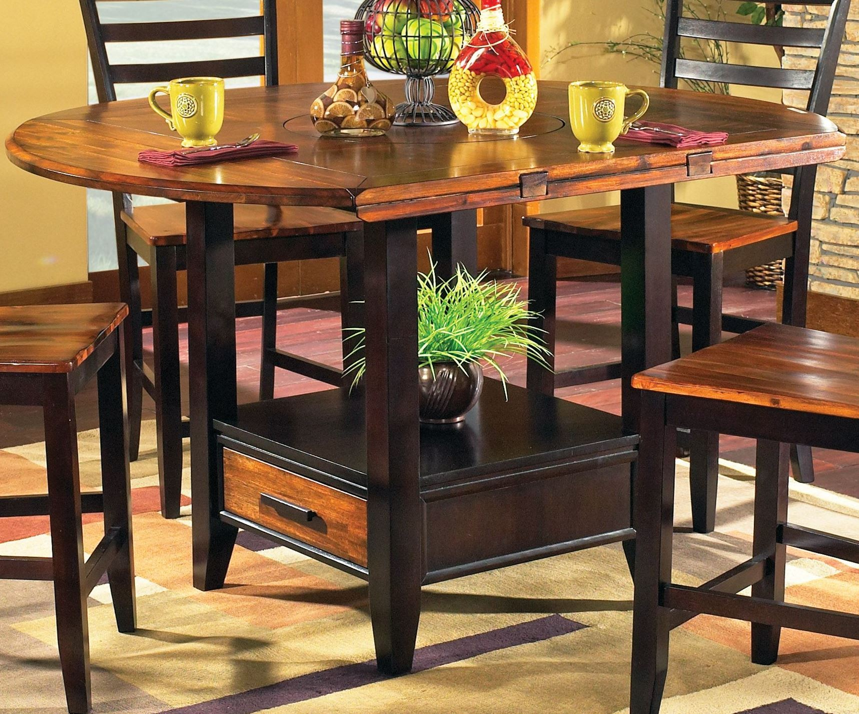 Abaco extendable round counter height dining table from for Counter height extendable dining table