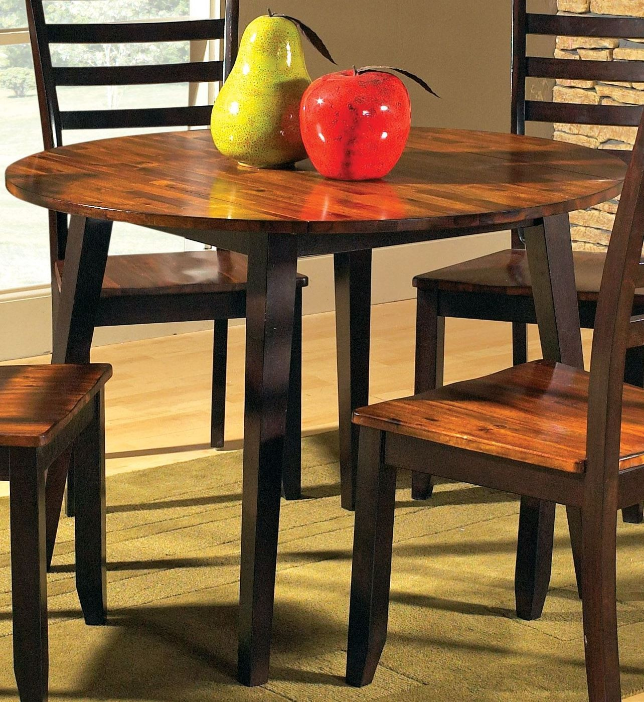 Abaco Cordovan Cherry Round Double Drop Leaf Dining Table