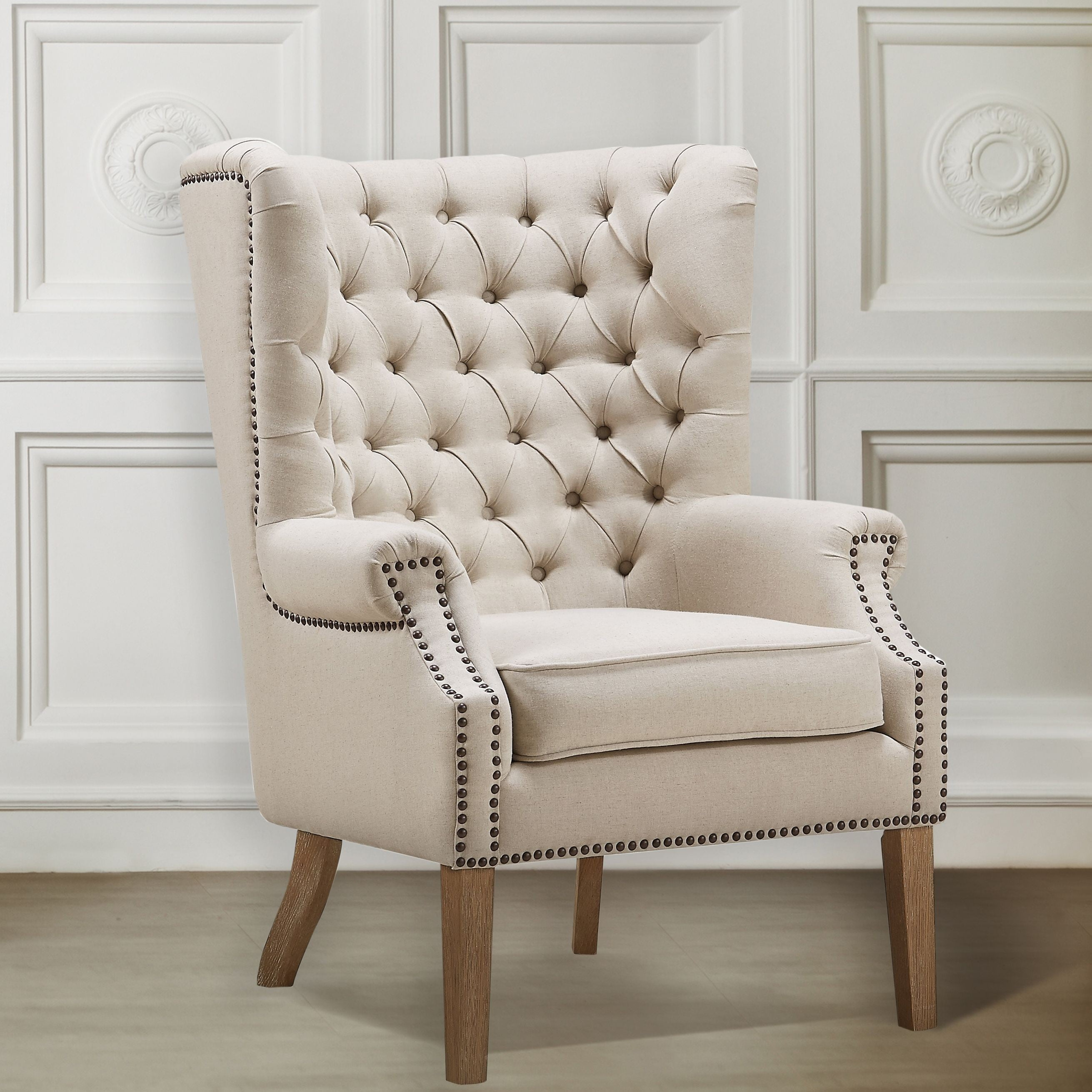 Abe Beige Linen Wing Chair from TOV (TOV-A2041) | Coleman ...