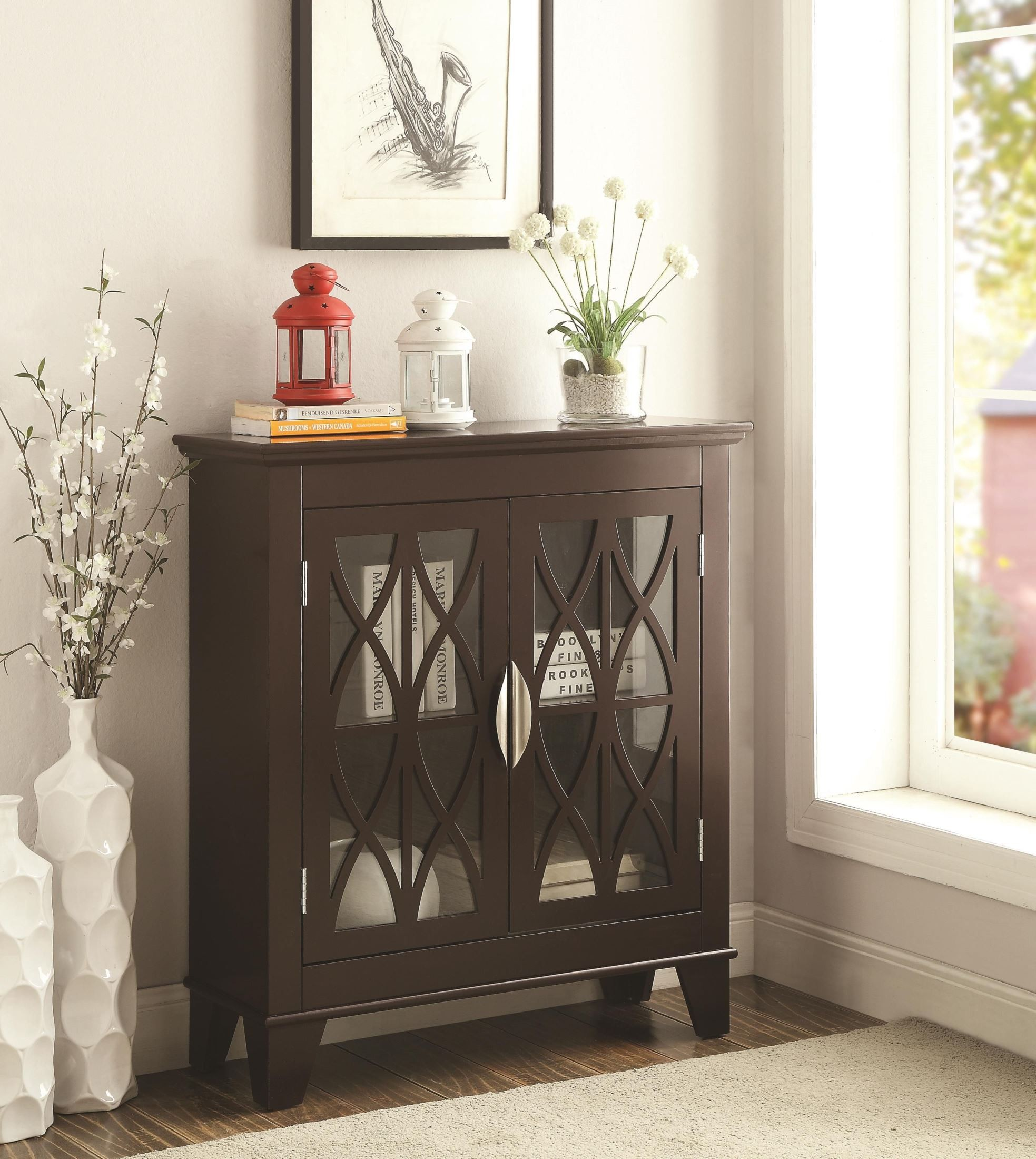 Accent cabinet with glass doors - 950311 Glass Doors Cappuccino Accent Cabinet Coaster Furniture 603937 603938