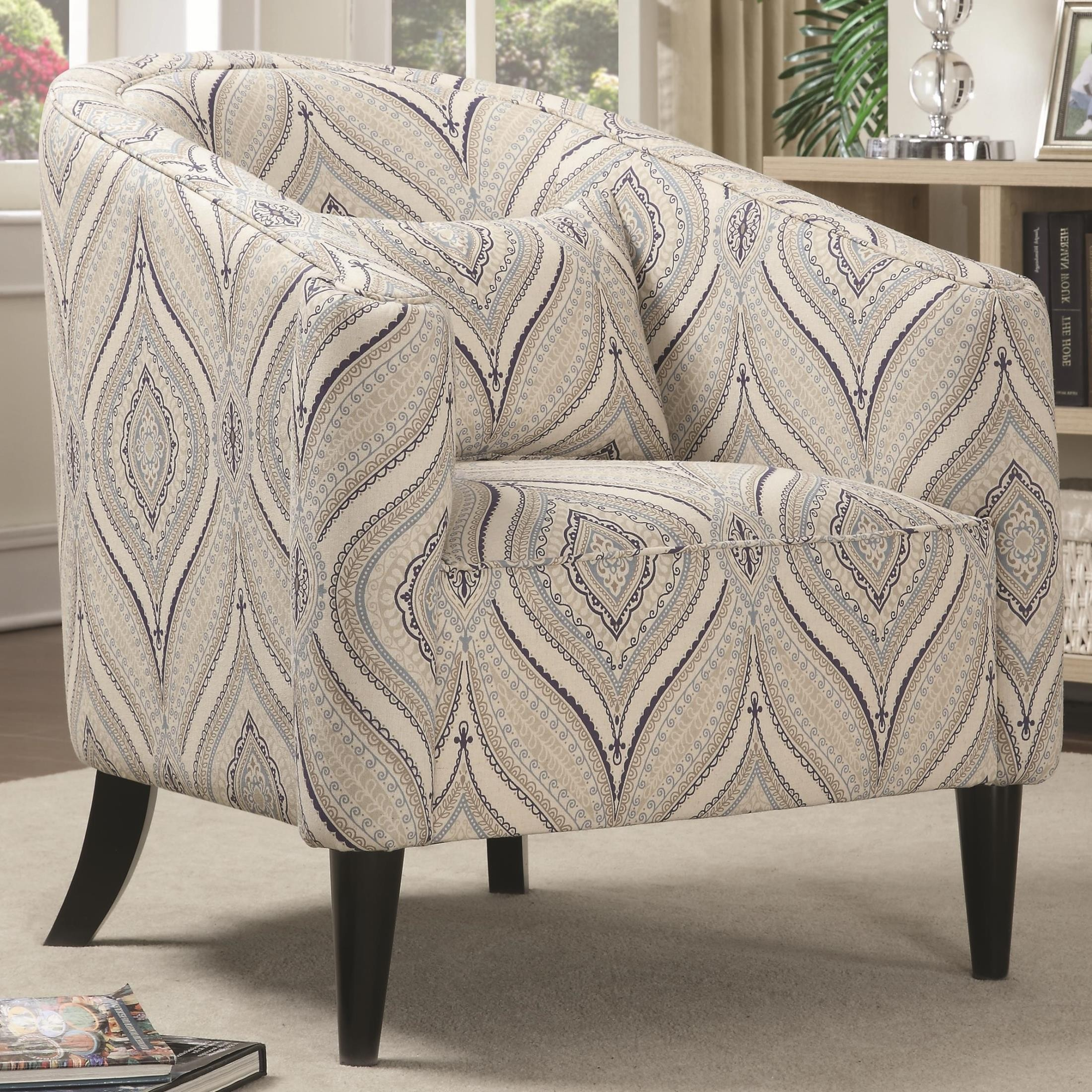 Claxton Multi Color Printed Linen Accent Chair From