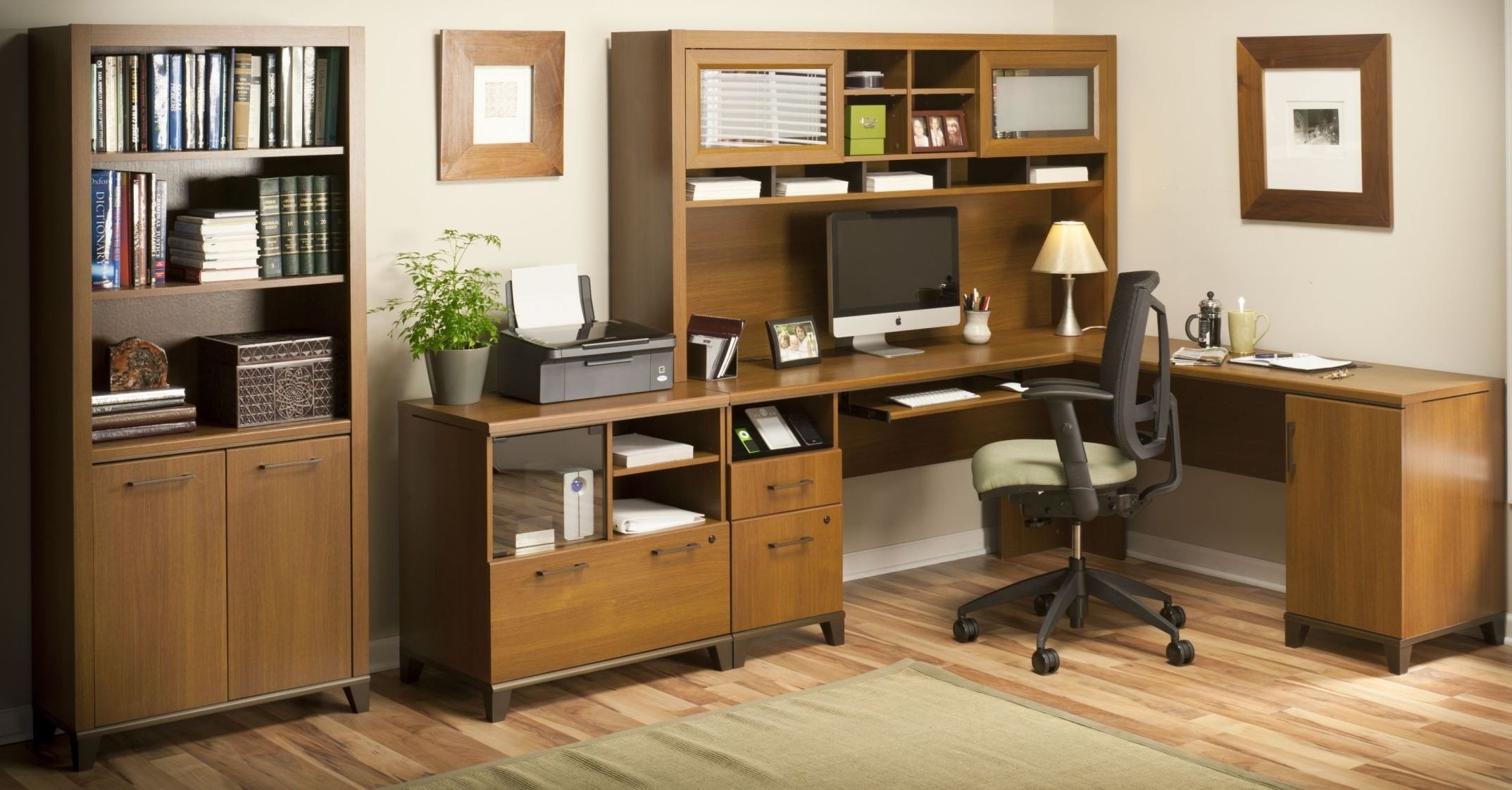 achieve warm oak home office set from bush pr67310k