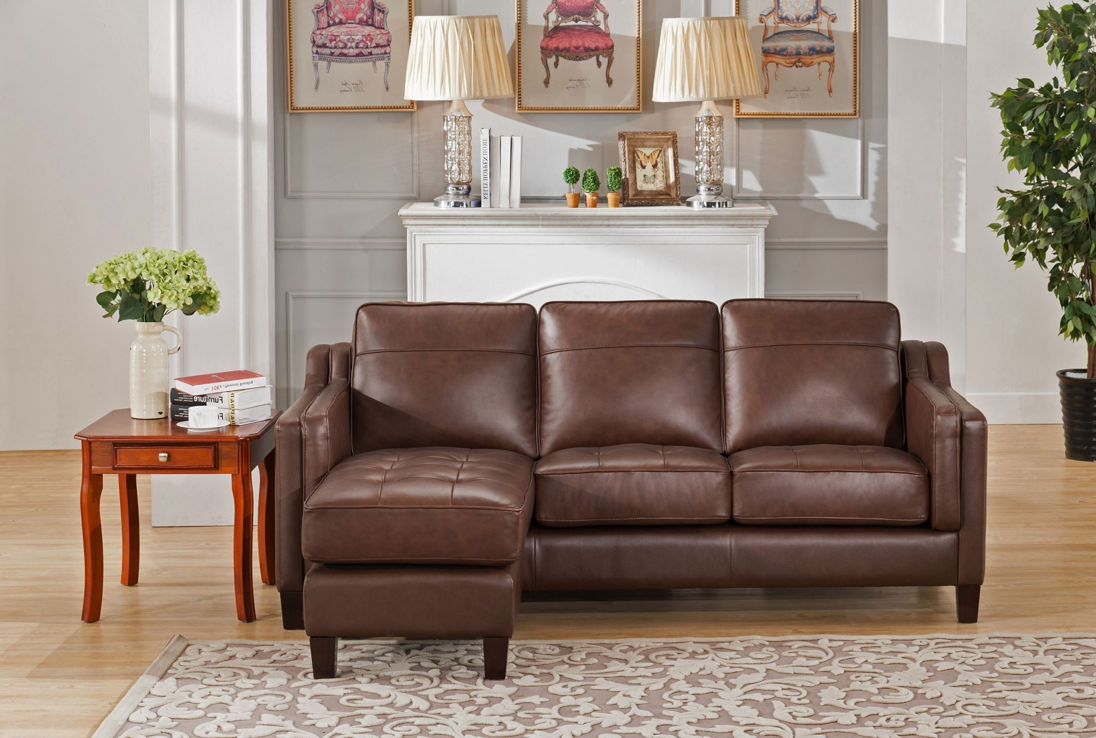Acorn brown leather reversible sofa chaise from amax for Brown leather chaise