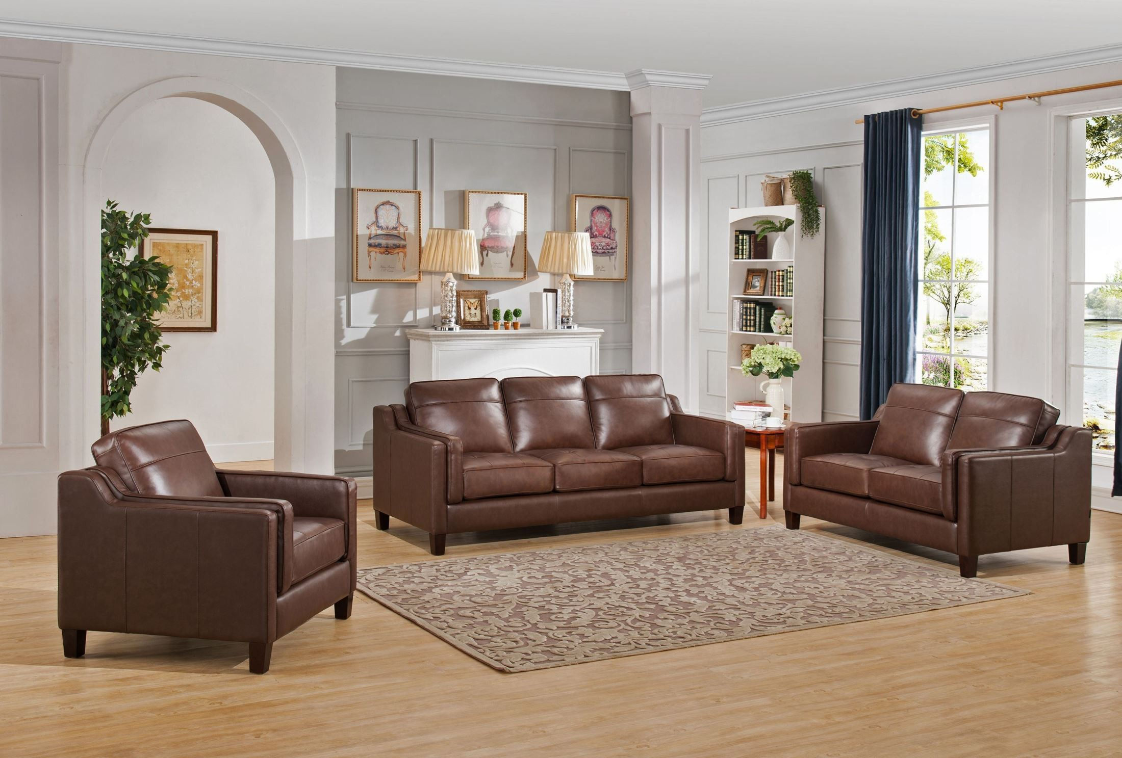 Acorn brown 3 piece leather living room set from amax for 3 piece living room furniture