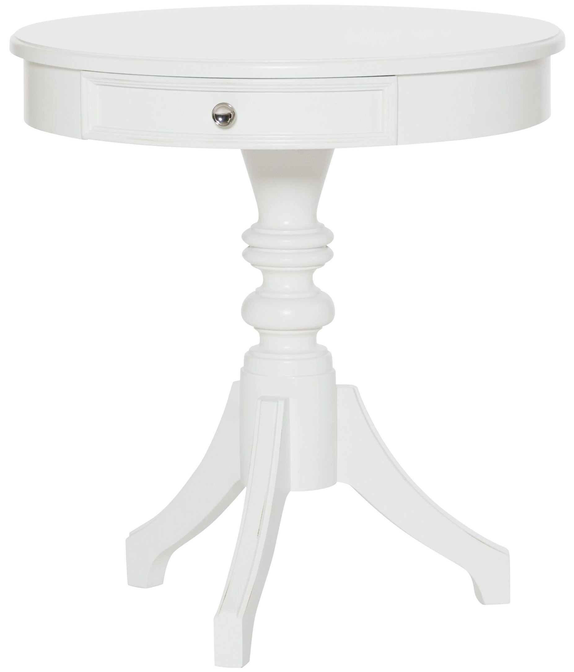 lynn haven soft dover white round accent table from american drew 416 916 coleman furniture. Black Bedroom Furniture Sets. Home Design Ideas