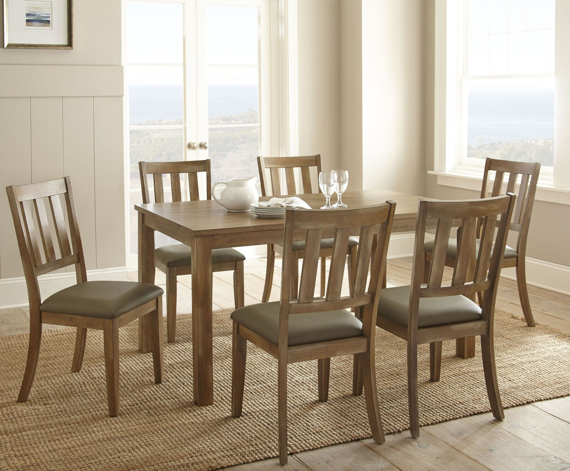 Ander Washed Pine Rectangular Dining Room Set Ad450t
