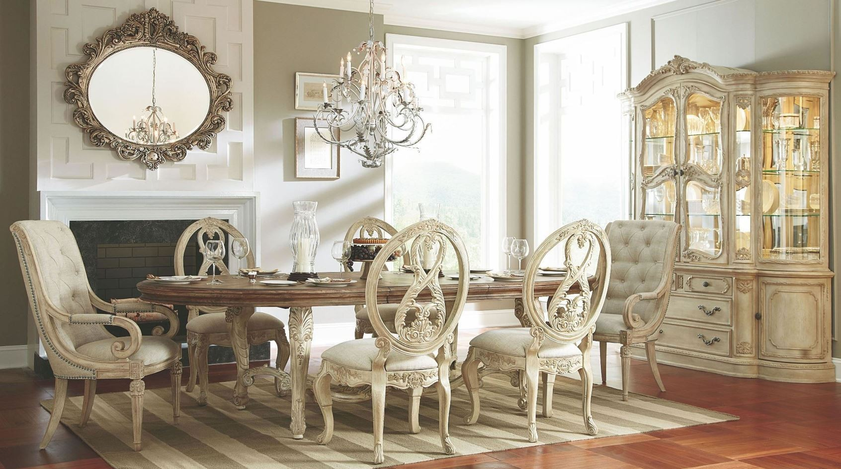 Jessica Mcclintock Boutique White Veil Oval Dining Room