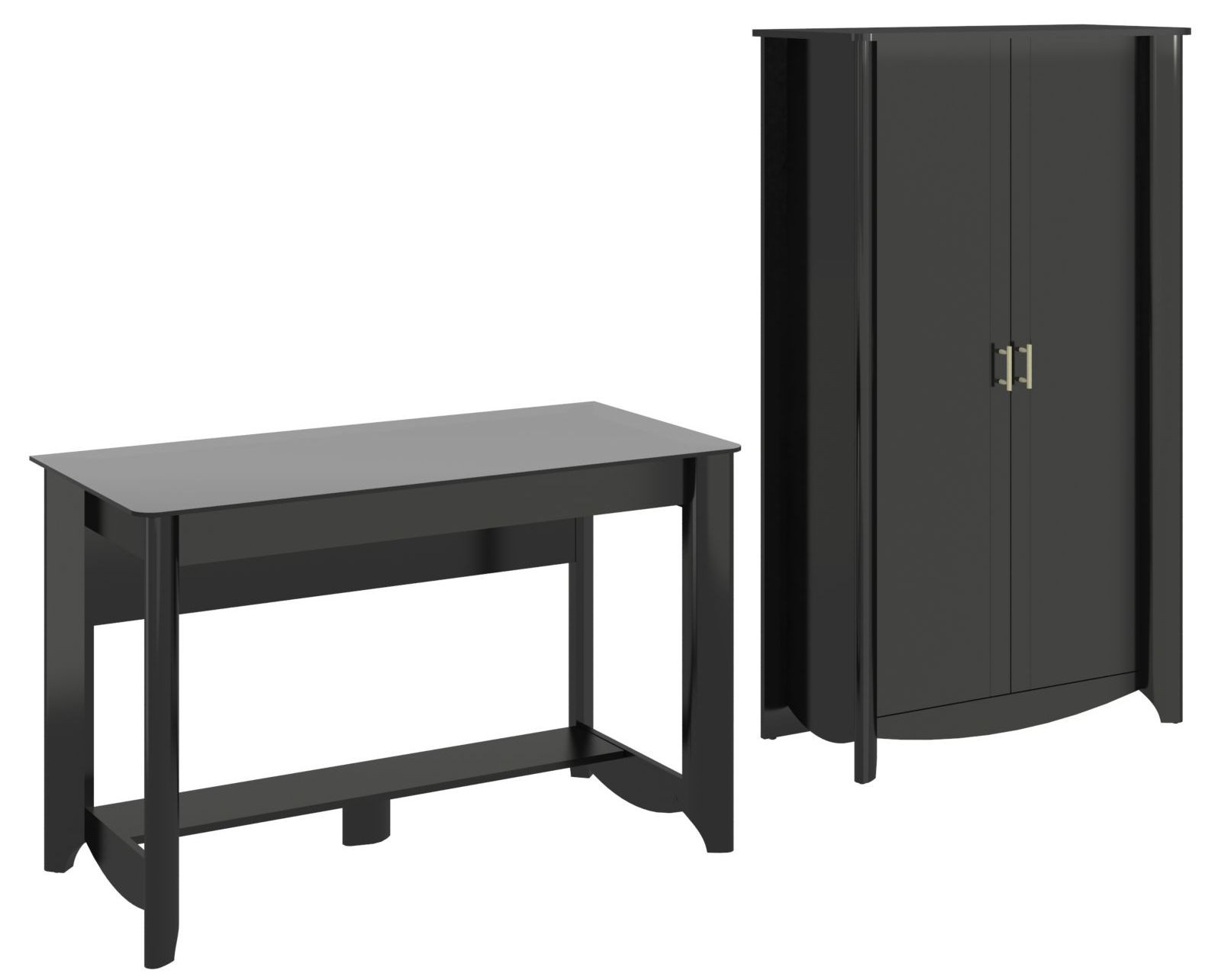 Aero Classic Black Desk With Tall Storage From Bush