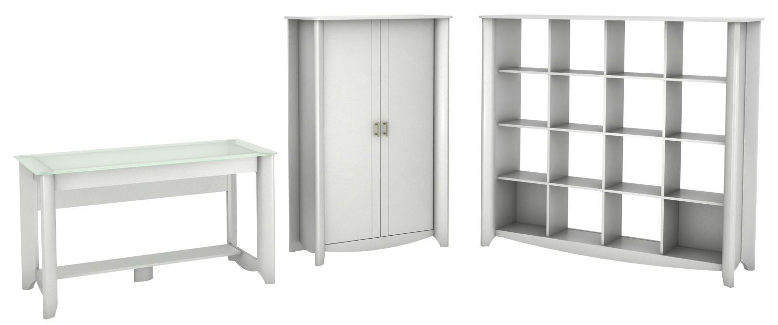 Aero Pure White Desk With Tall Storage & 16 Cube Bookcase
