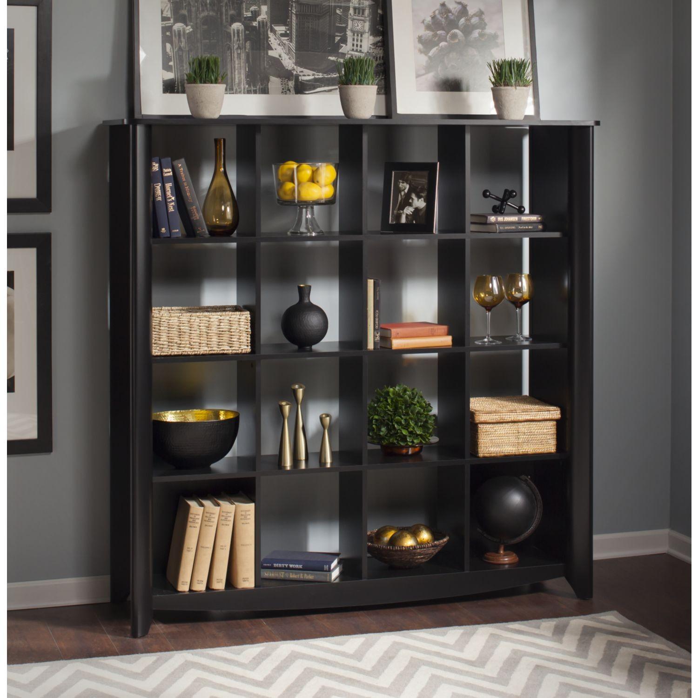 Aero Classic Black 16 Cube Bookcase Room Divider From