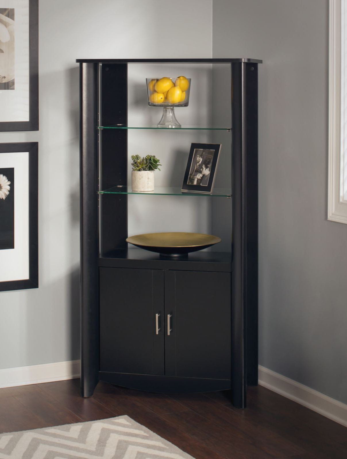 Aero Classic Black Desk With Tall Library Storage From