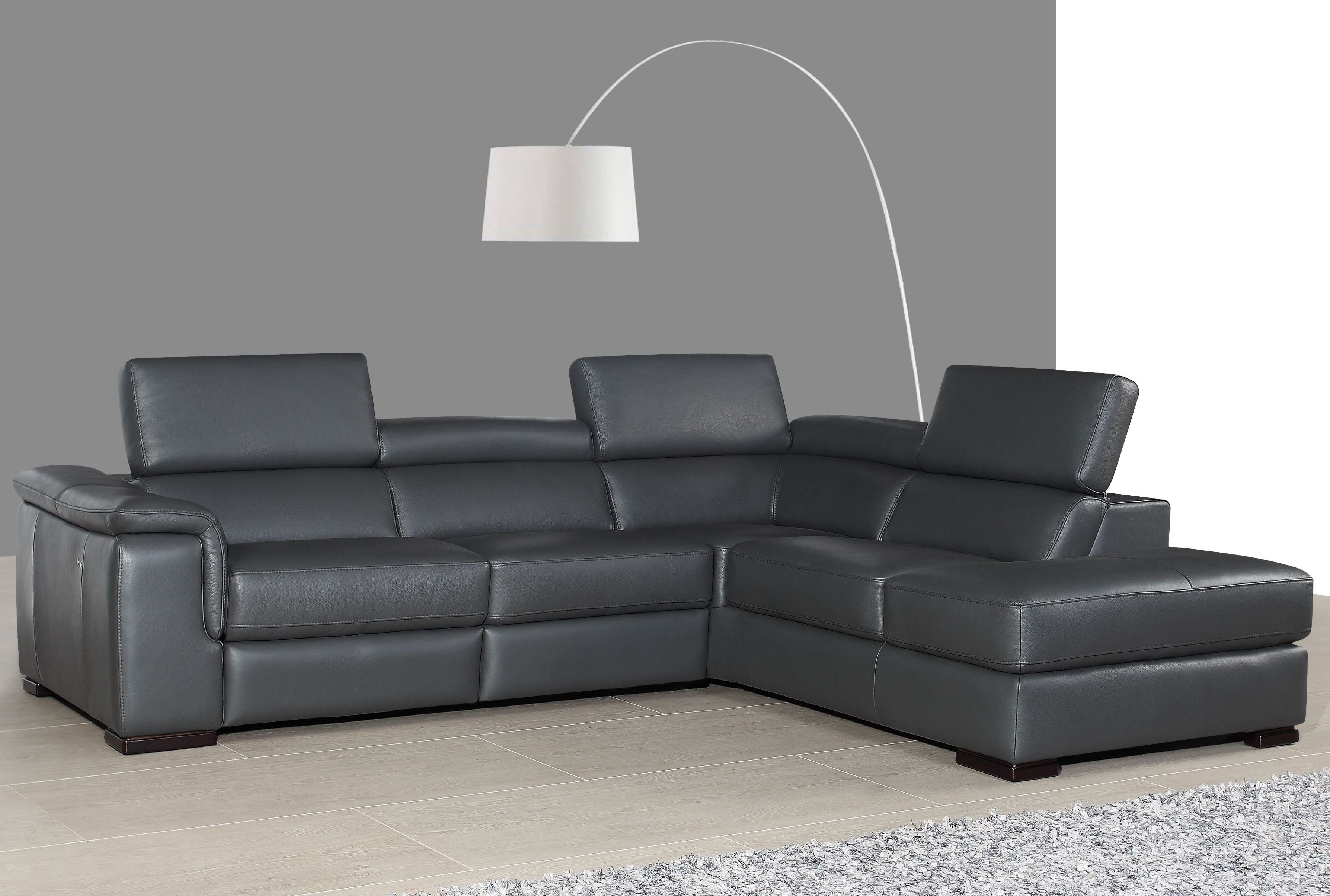 Agata Slate Gray Leather Power Reclining RAF Sectional ...