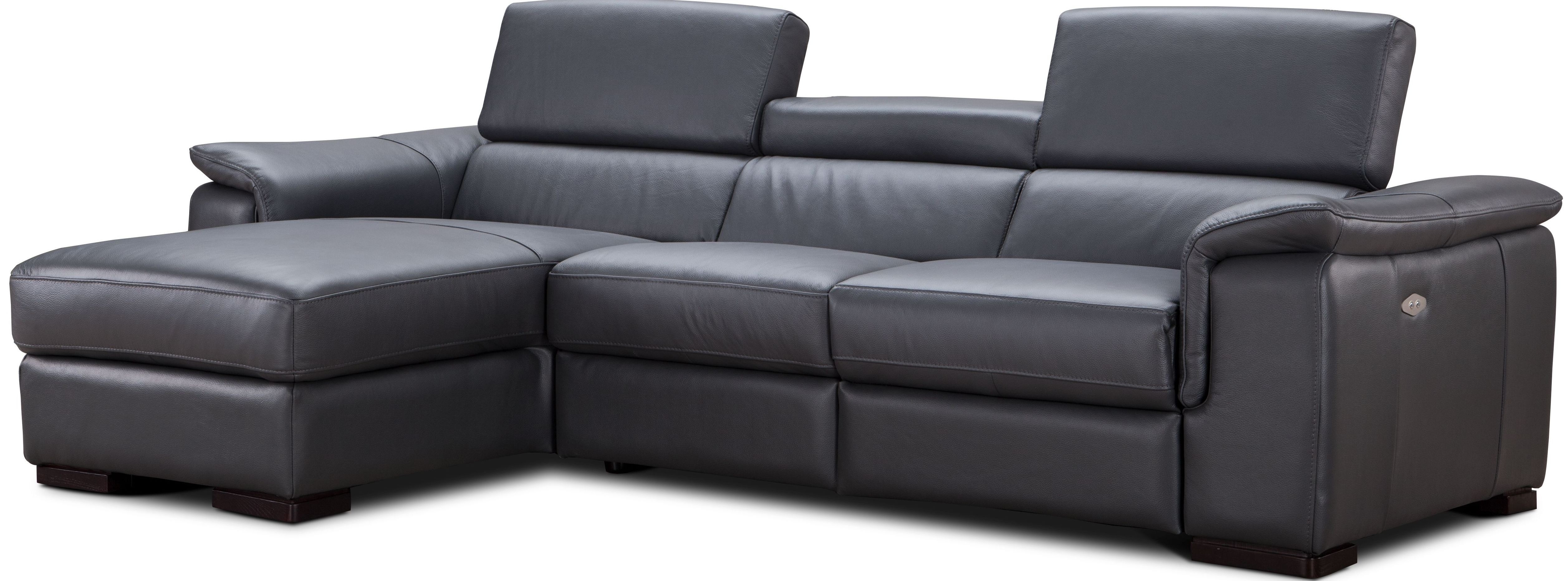 Allegra Slate Gray Leather Power Reclining Laf Sectional
