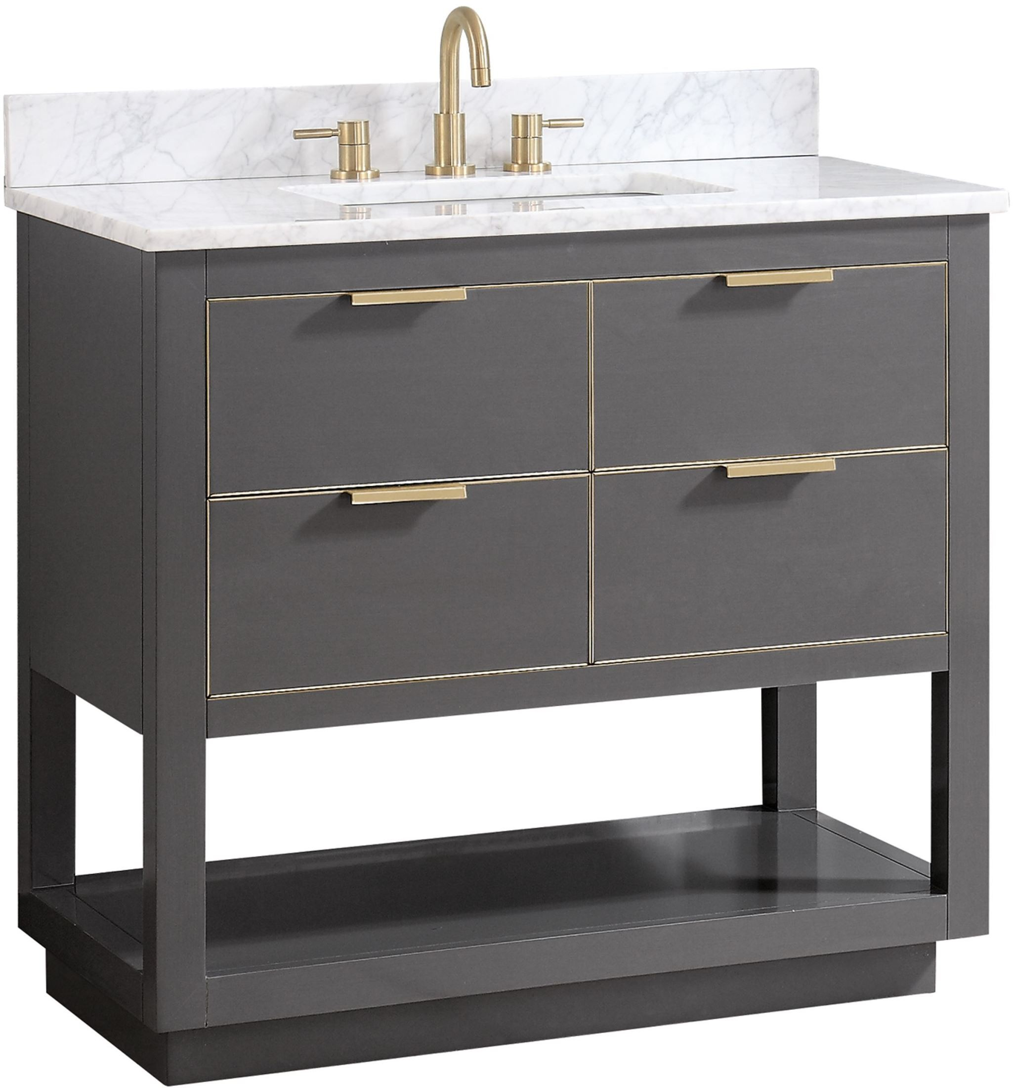Allie Twilight Gray And Gold Trim 37 Vanity With Carrara White