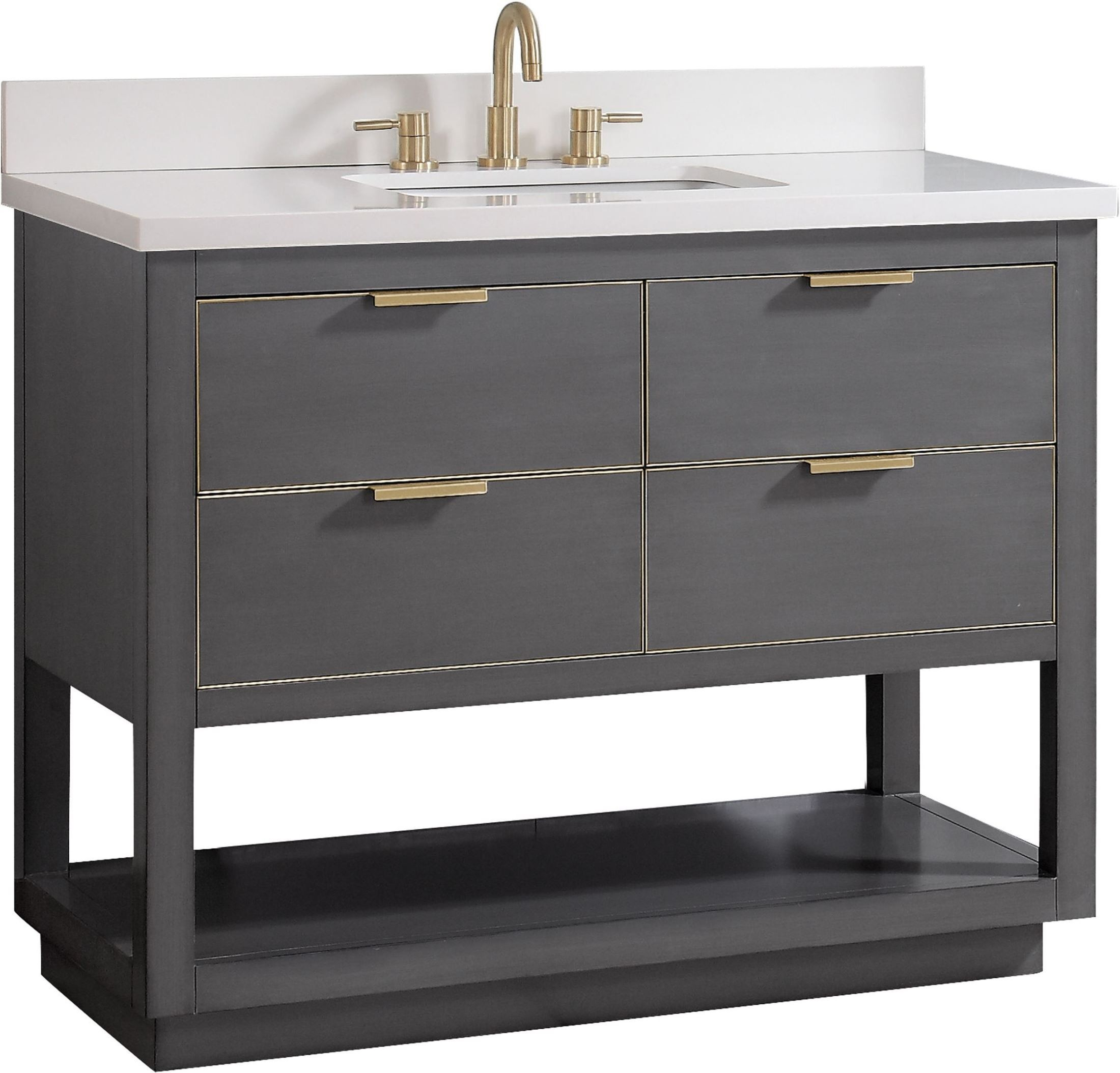 Allie Twilight Gray And Gold Trim 43 Vanity With White Quartz Top