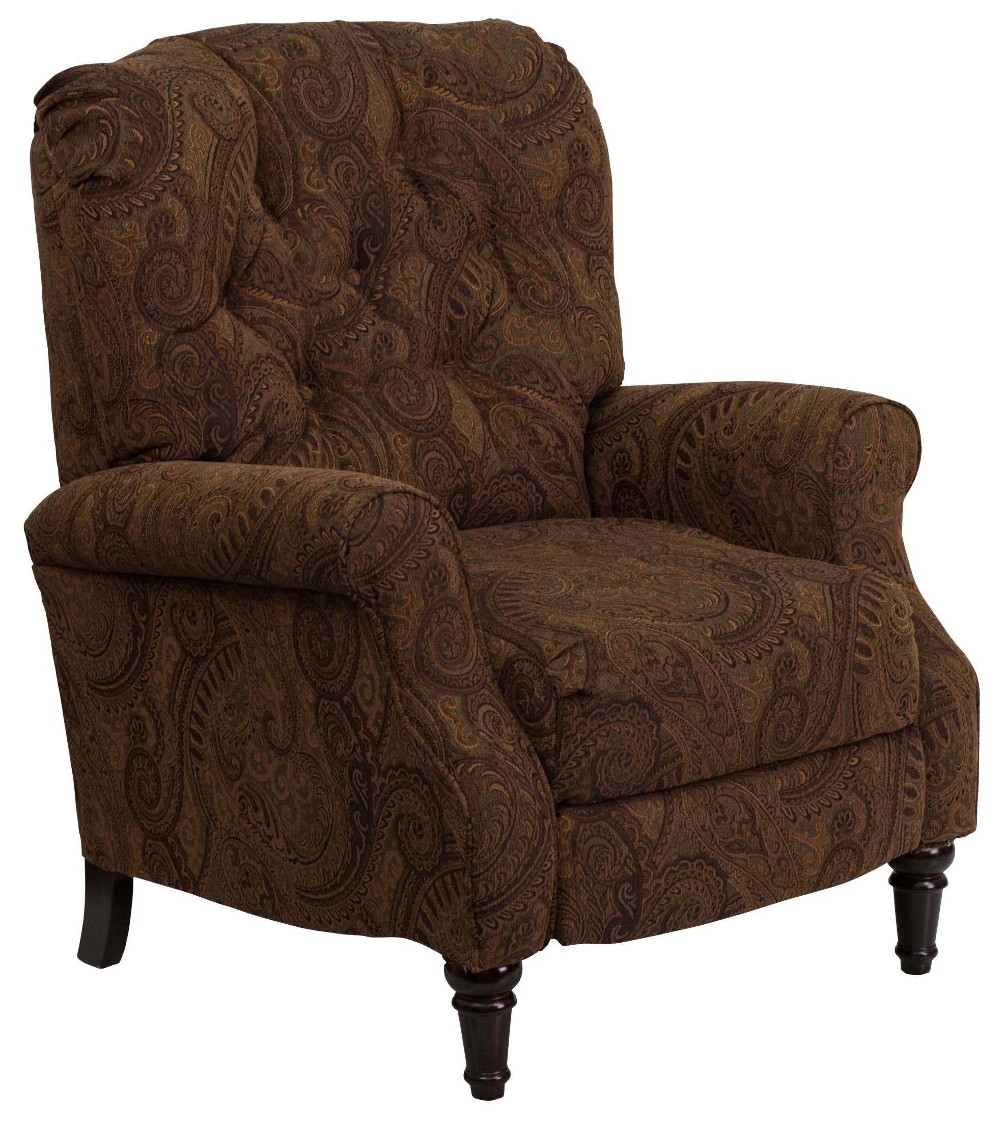 Traditional Tobacco Fabric Tufted Hi Leg Recliner From