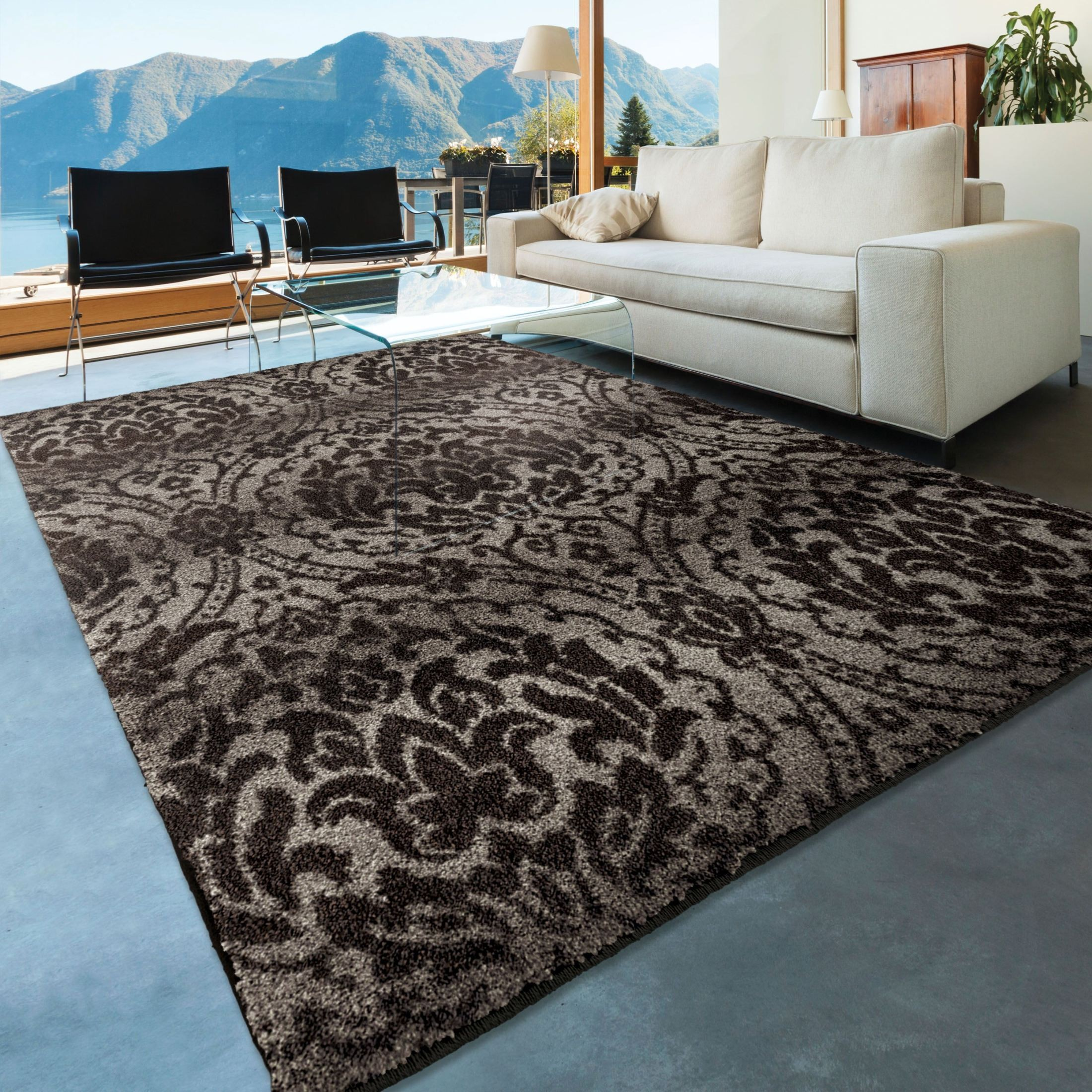 Orian Rugs Plush Pile Damask Norfolk Gray Area Large Rug