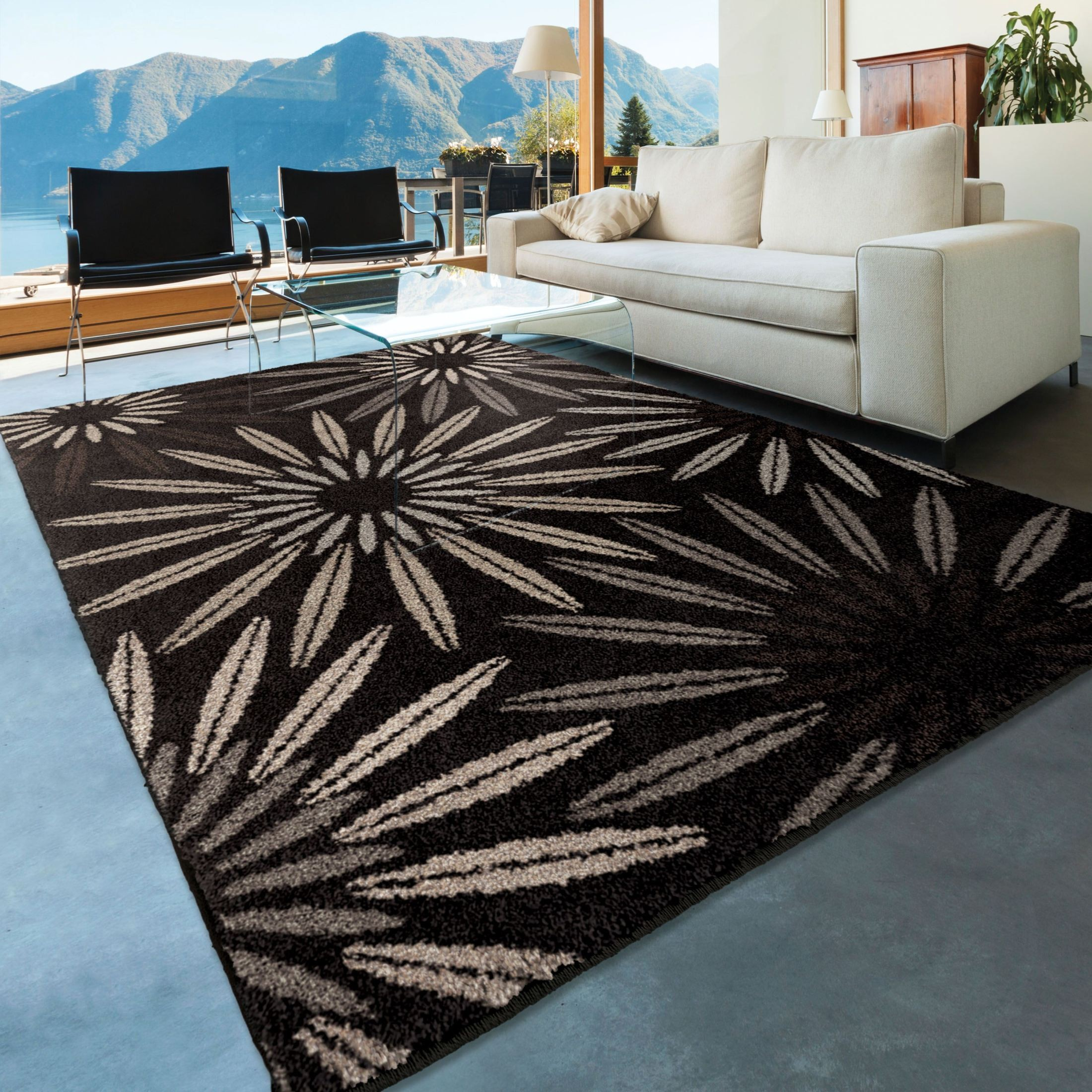 Discount 8x11 Area Rugs: American Heritage Floral Halley Black Large Area Rug From