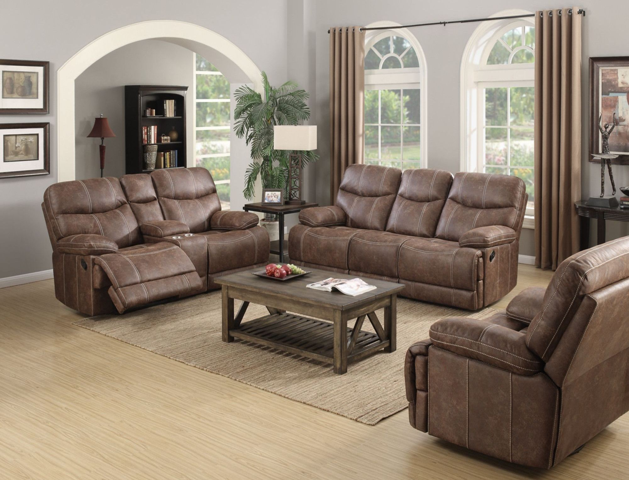 Earl sanded microfiber brown reclining living room set - Microfiber living room furniture sets ...