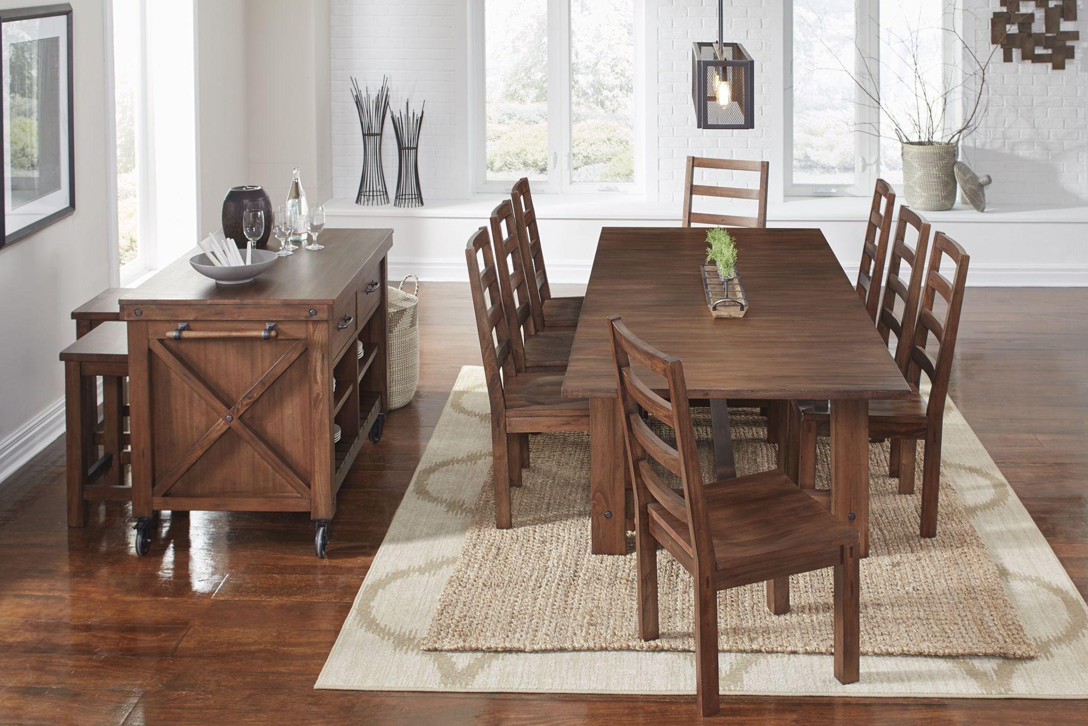 Anacortes mahogany 105 extendable rectangular trestle for Trestle dining room sets