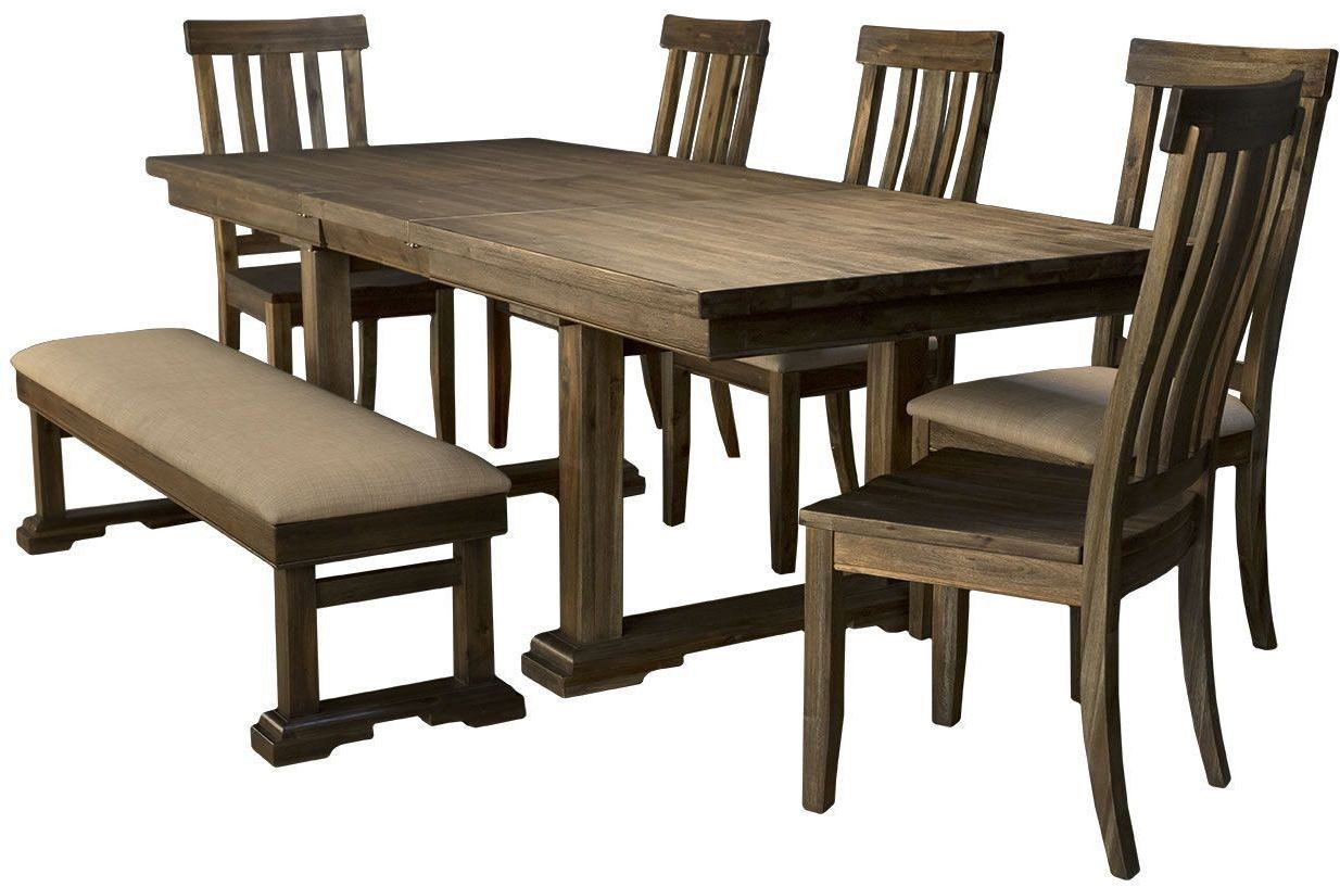 dawson wire brushed timber 96 extendable rectangular trestle dining table from a america. Black Bedroom Furniture Sets. Home Design Ideas
