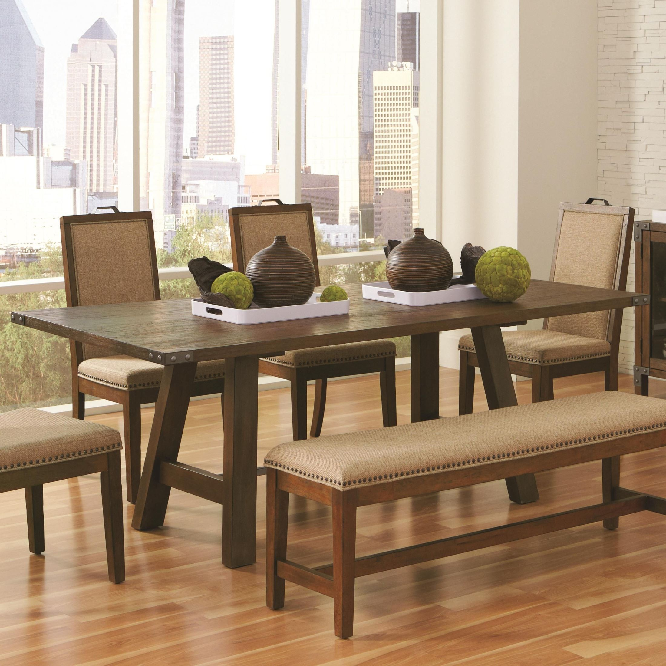 Ultimate Accents Urban 7 Piece Dining Set Reviews: Arcadia Weathered Acacia Rectangular Trestle Dining Table