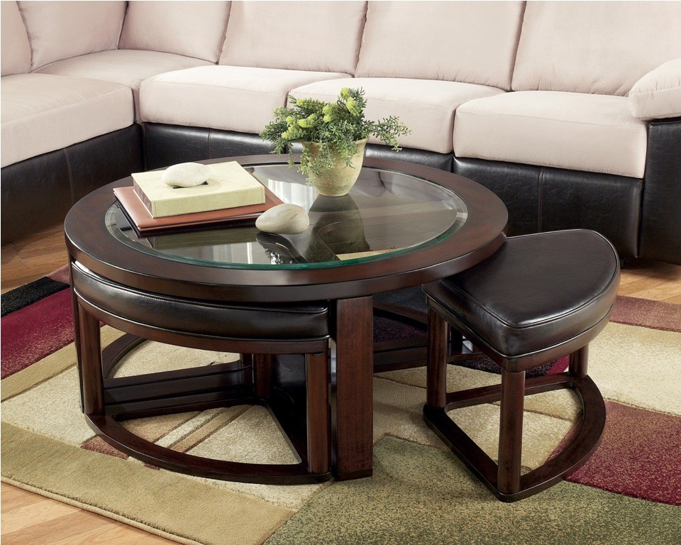 X. Marion Coffee Table With 4 Stools