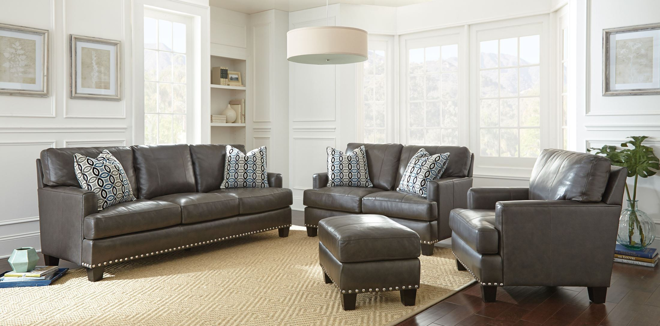Patrese leather living room set from steve silver at810s coleman furniture - Silver living room furniture ...