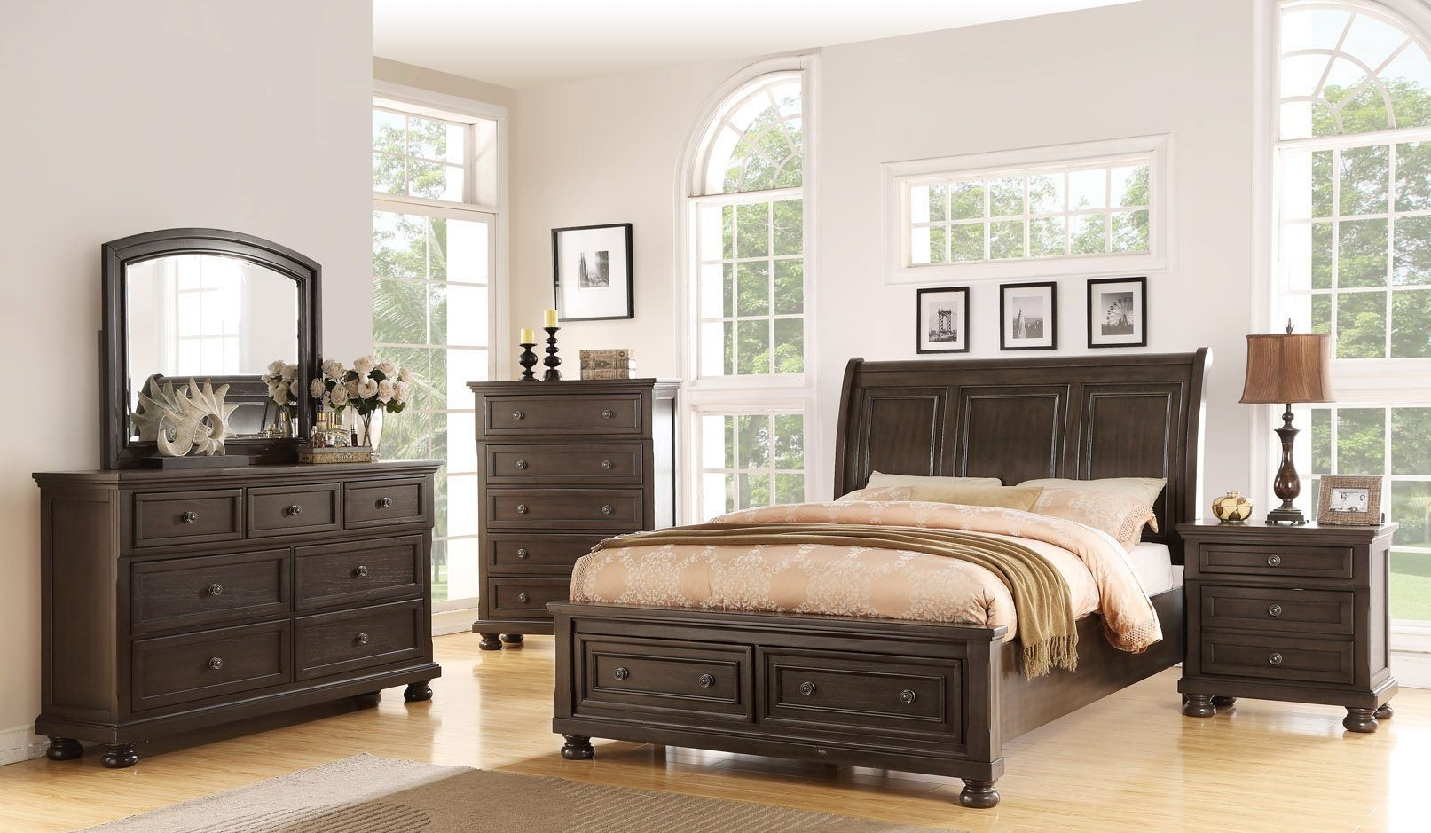 Soriah Distressed Gray Sleigh Storage Bedroom Set from Avalon ...