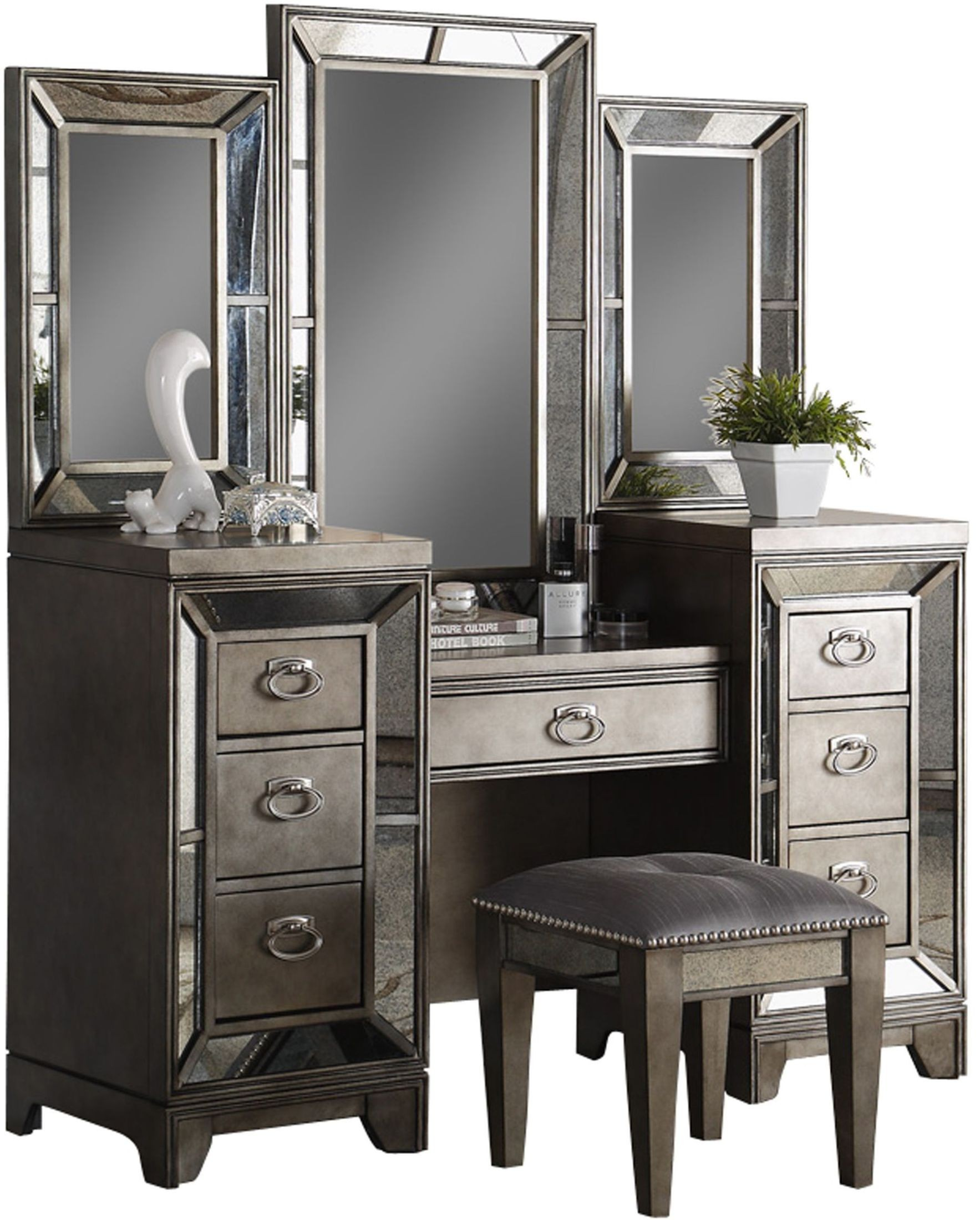 Superbe Lenox Platinum Painted Vanity Desk With Mirror From Avalon Furniture |  Coleman Furniture