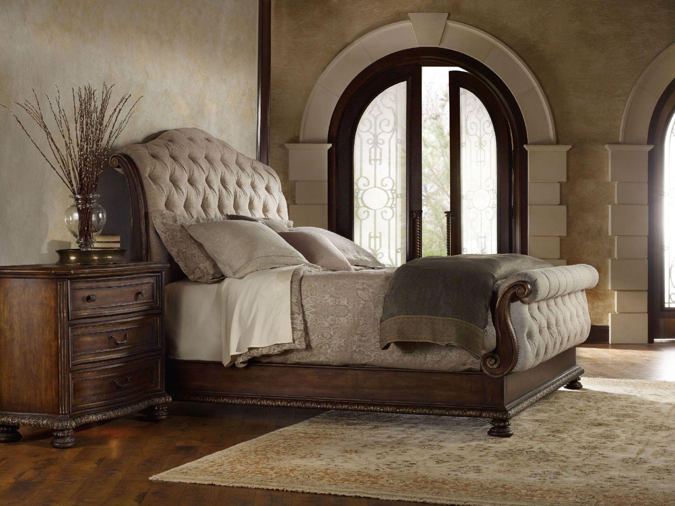 outstanding dark wood bedroom sets | Adagio Dark Wood Tufted Sleigh Bedroom Set, 5091-90566 ...