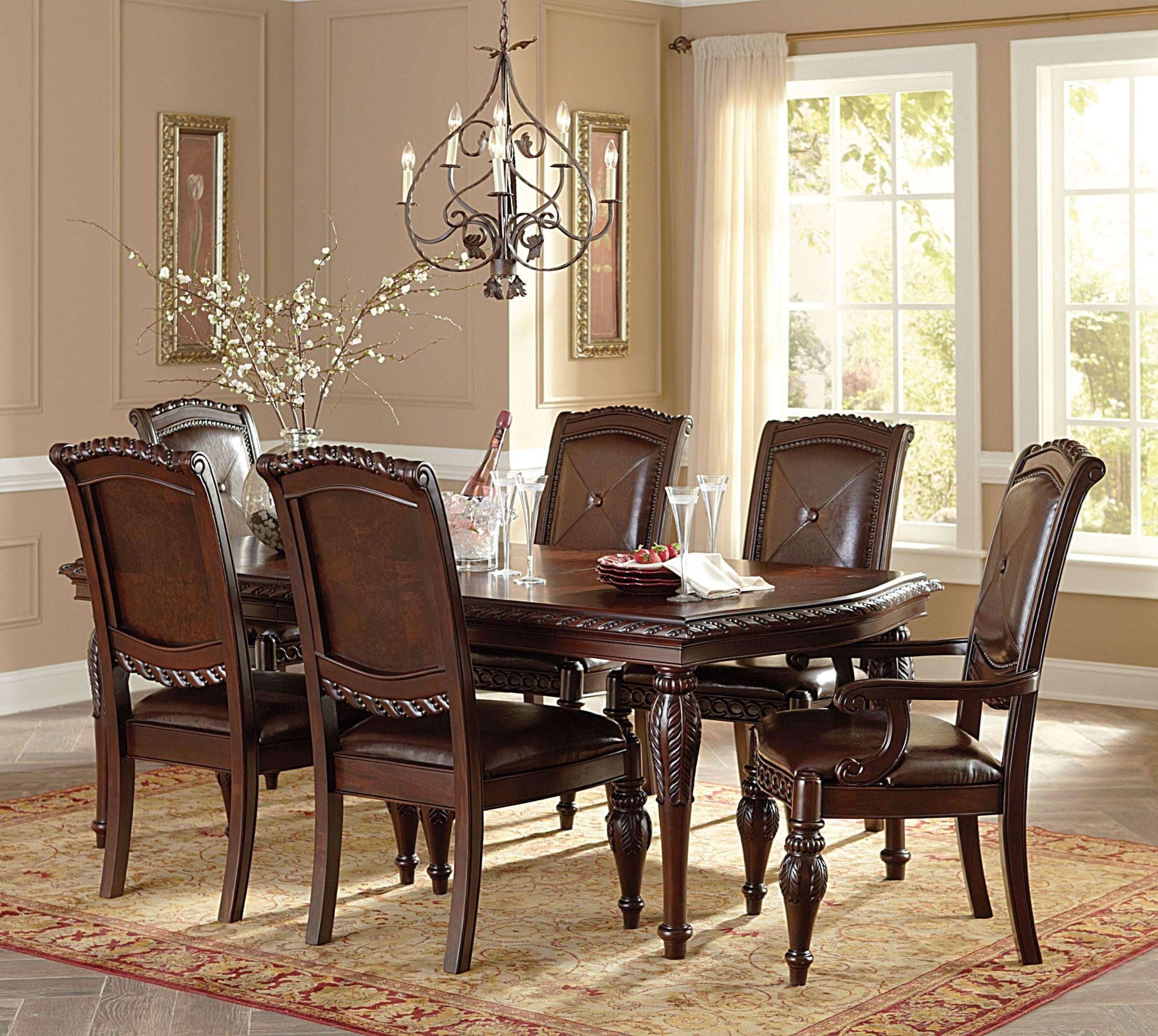 Antoinette Warm Brown Extendable Rectangular Dining Room ...