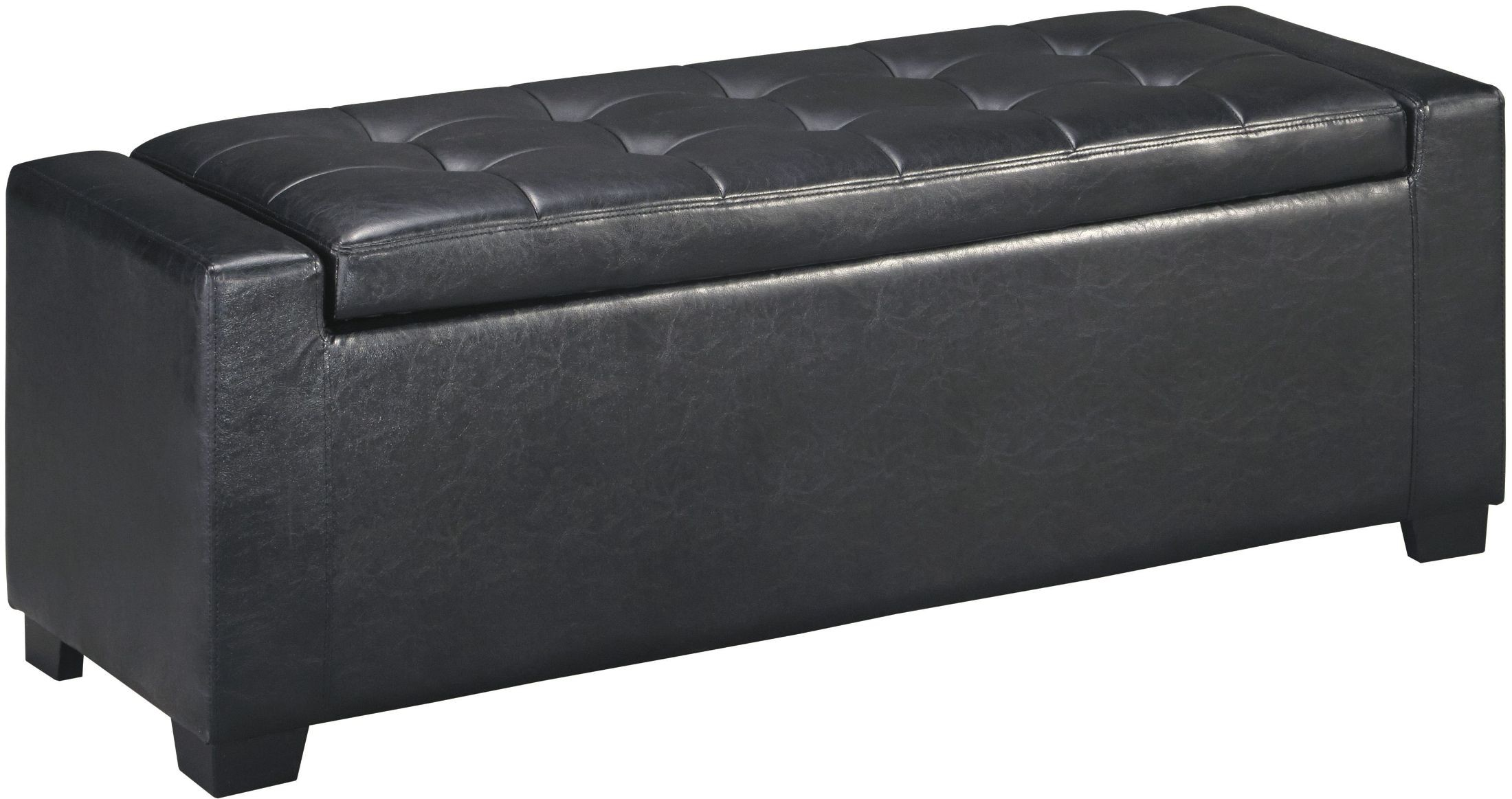 Benches Black Upholstered Storage Bench From Ashley Coleman Furniture