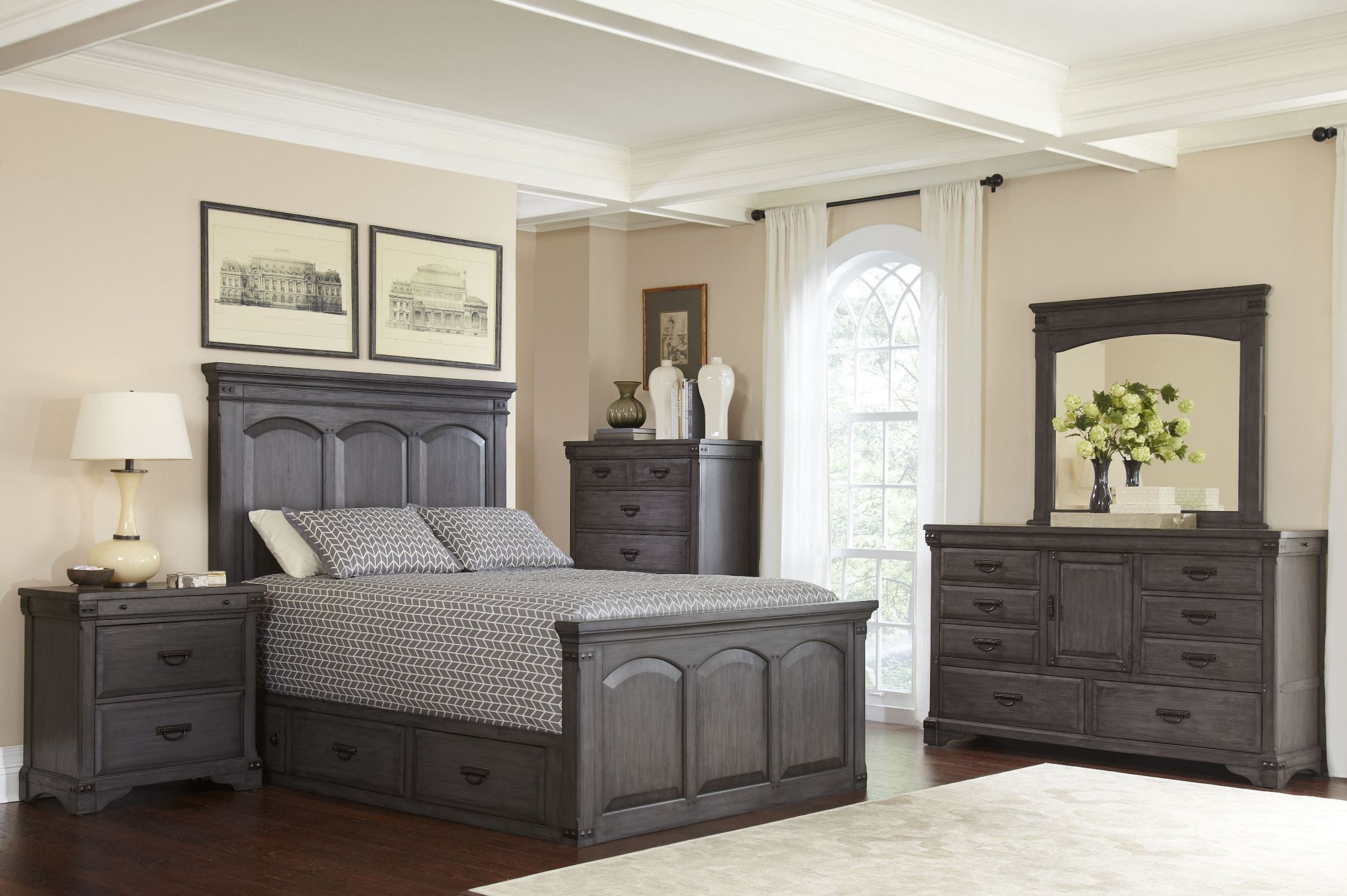 Brushed Gray Mahogany Storage Bedroom Set From Avalon Furniture Coleman Furniture