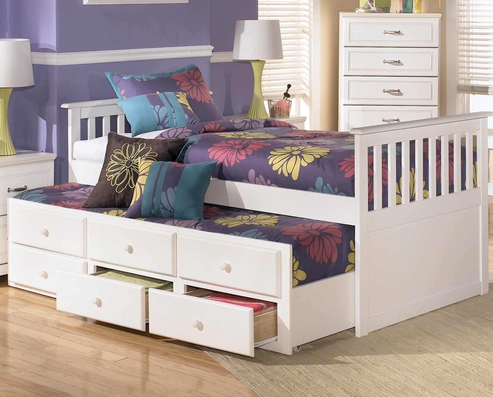 Details About White 3 Piece Storage Drawers Twin Bed Box: Lulu Twin Storage Bed With Super Trundle From Ashley (B102