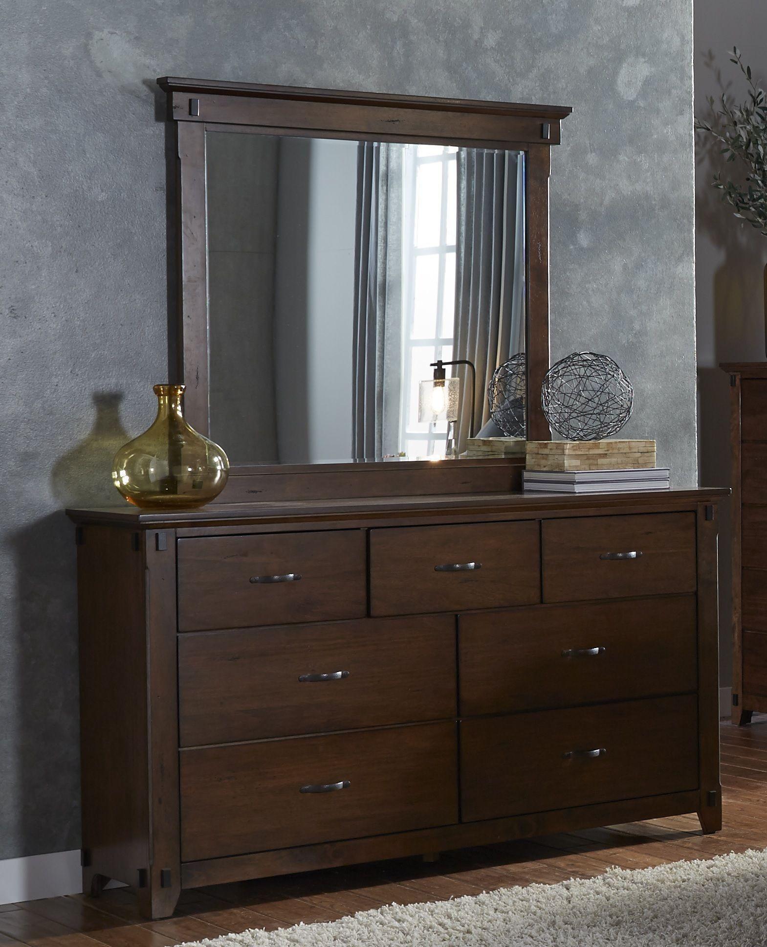 Ridgefield saddle drawer dresser mirror from progressive