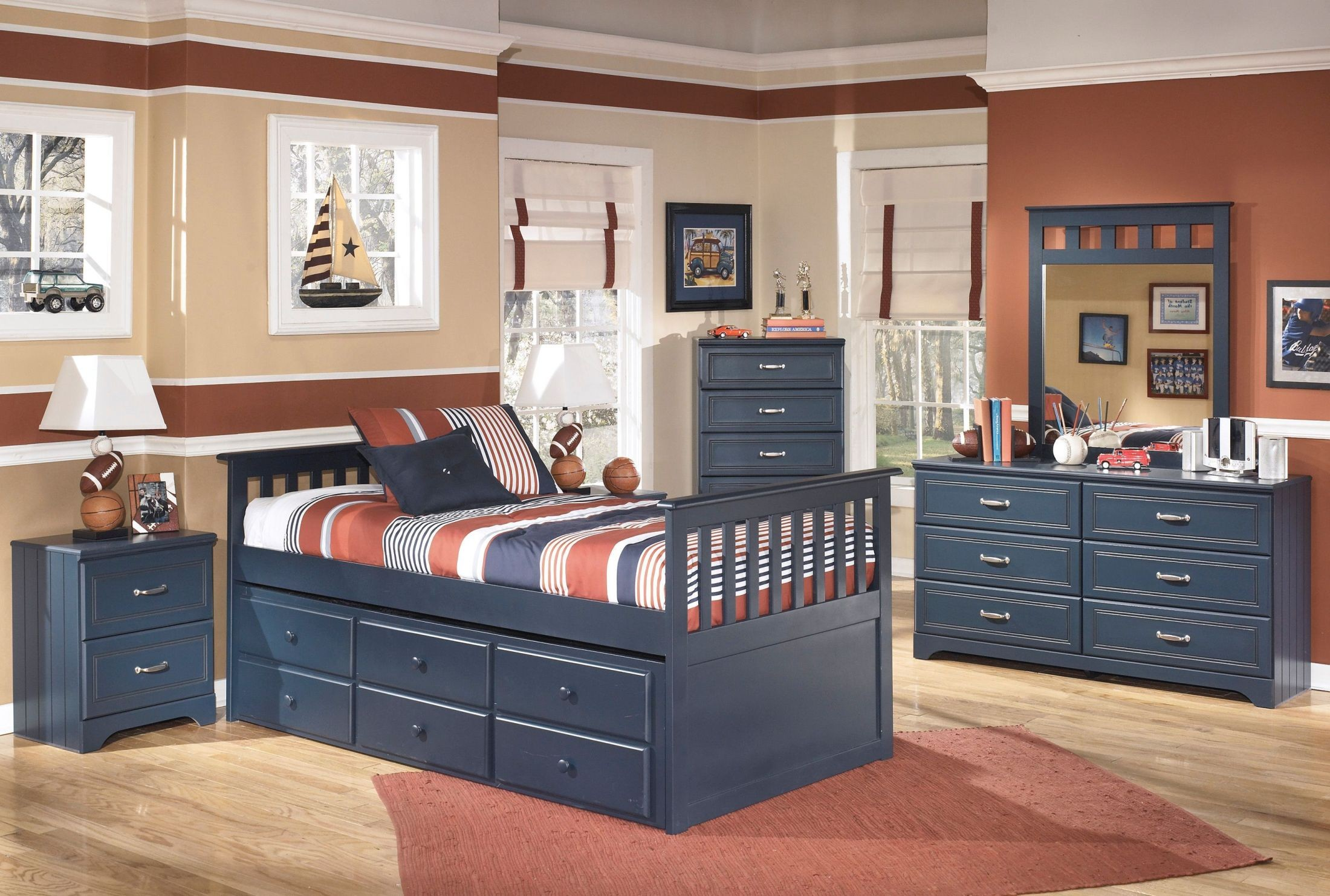 Leo youth trundle storage bedroom set from ashley b103 - Youth bedroom furniture with storage ...