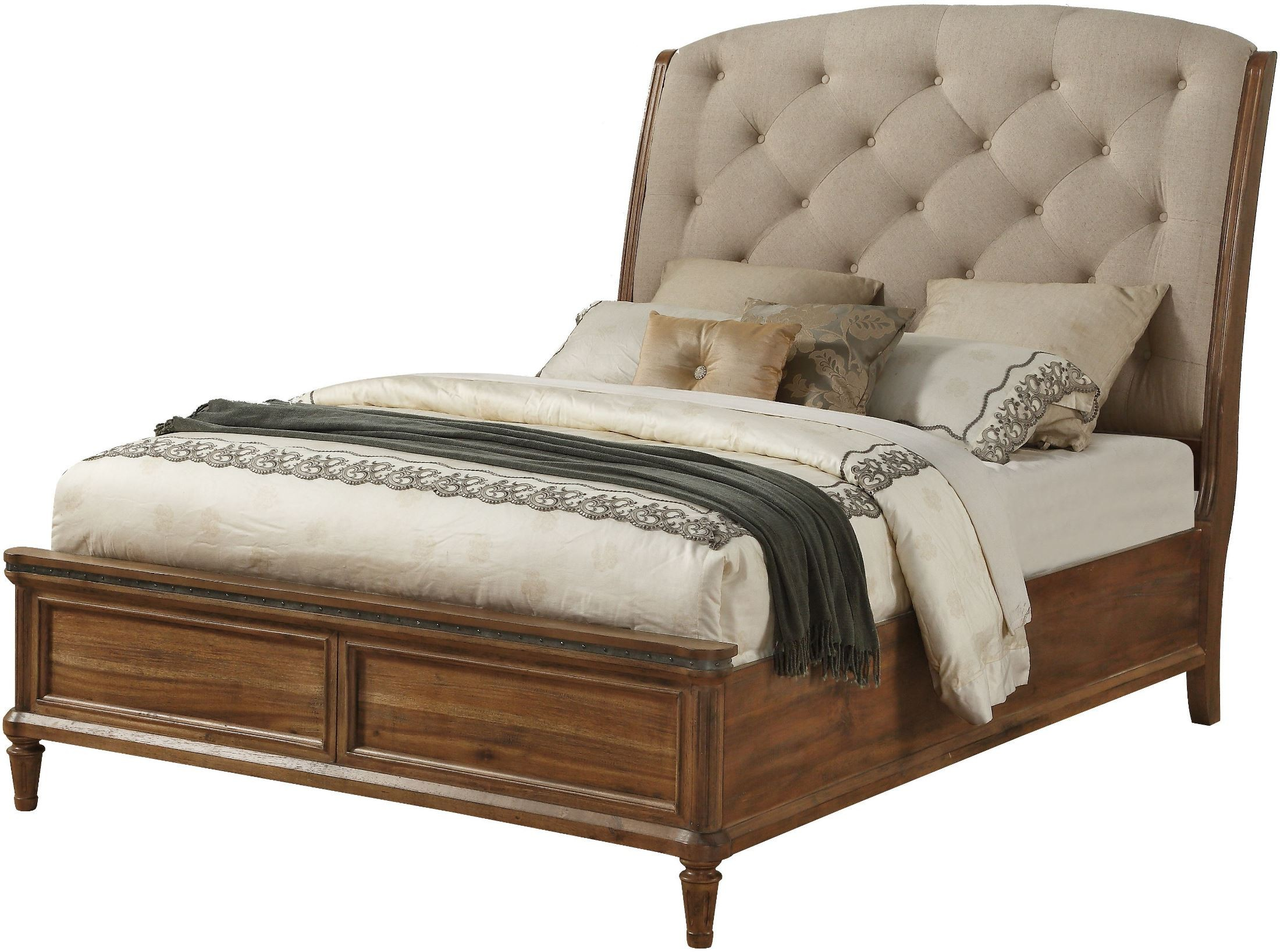 Distressed Blonde Queen Upholstered Sleigh Bed From Avalon