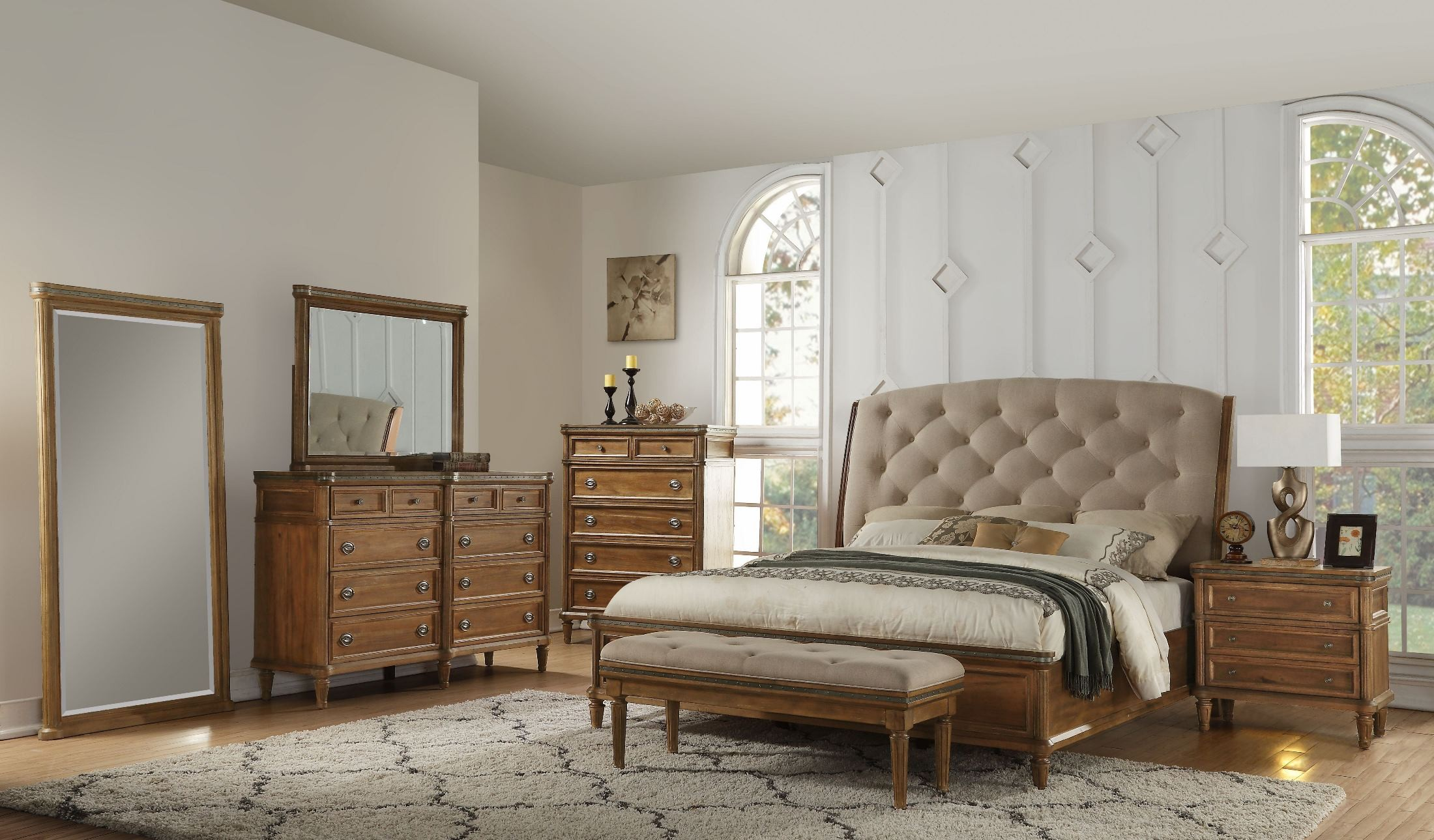 Distressed blonde upholstered sleigh bedroom set from - Distressed bedroom furniture sets ...