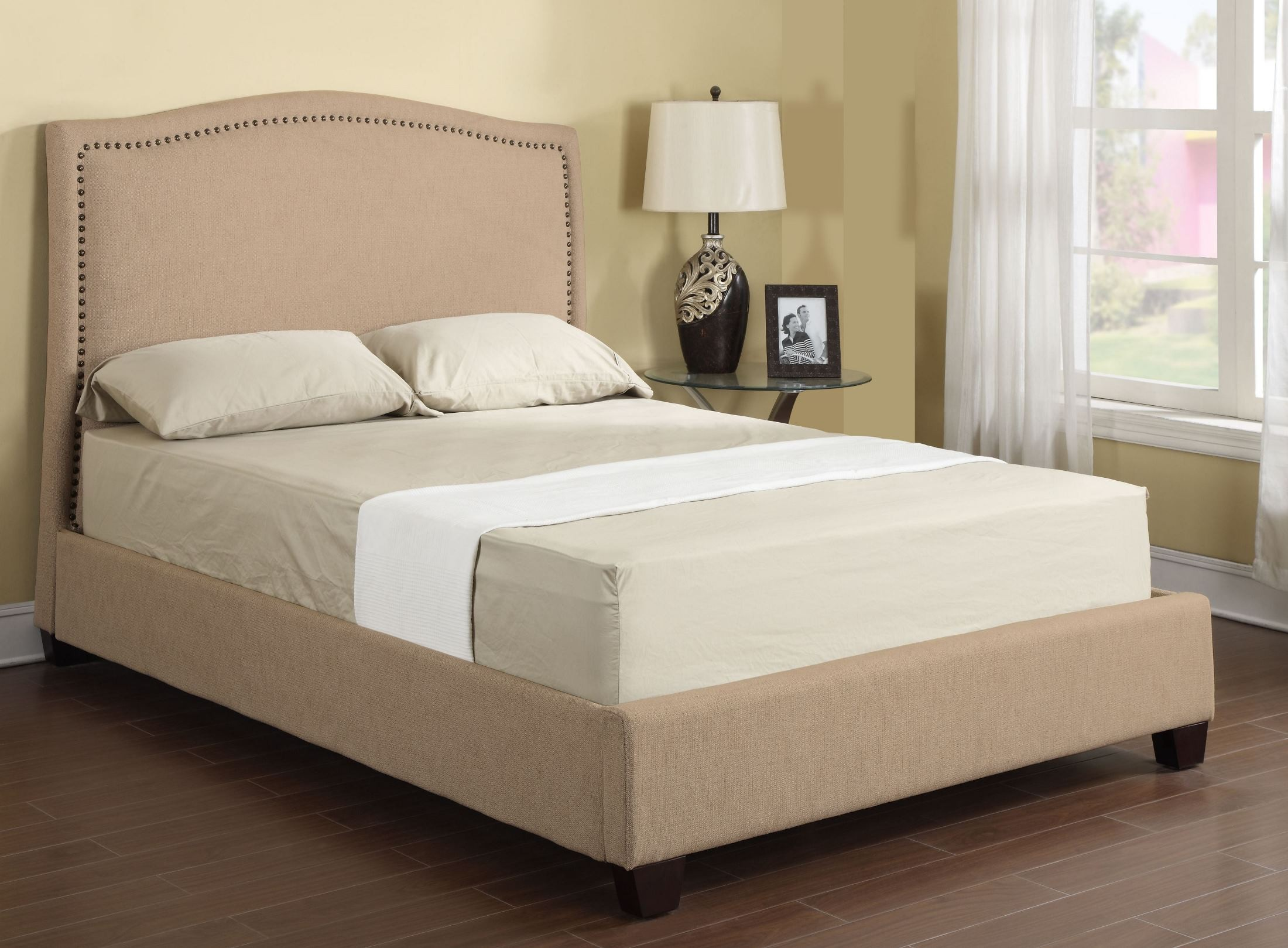 Abigail Tan Fabric King Upholstered Bed From Emerald Home