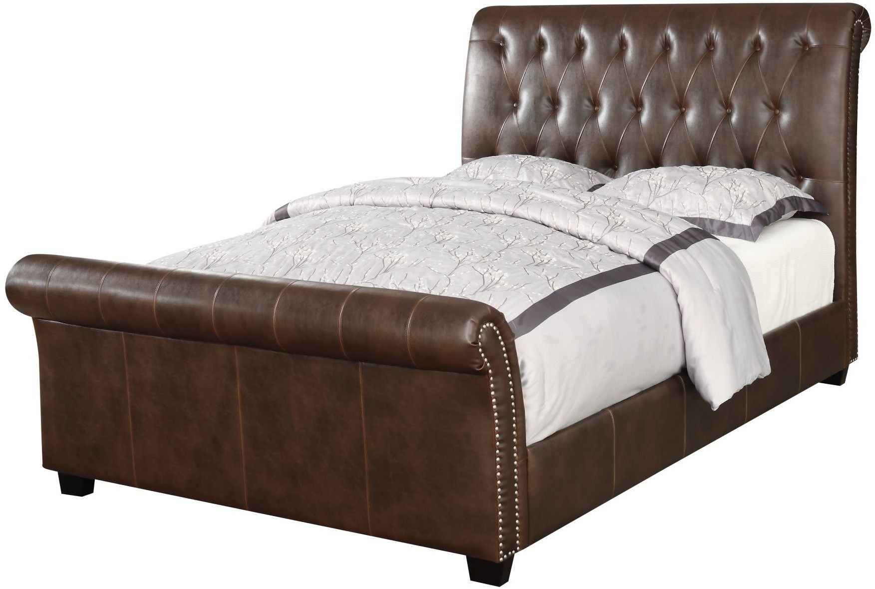 innsbruck ii brown king upholstered sleigh bed from emerald home coleman furniture. Black Bedroom Furniture Sets. Home Design Ideas