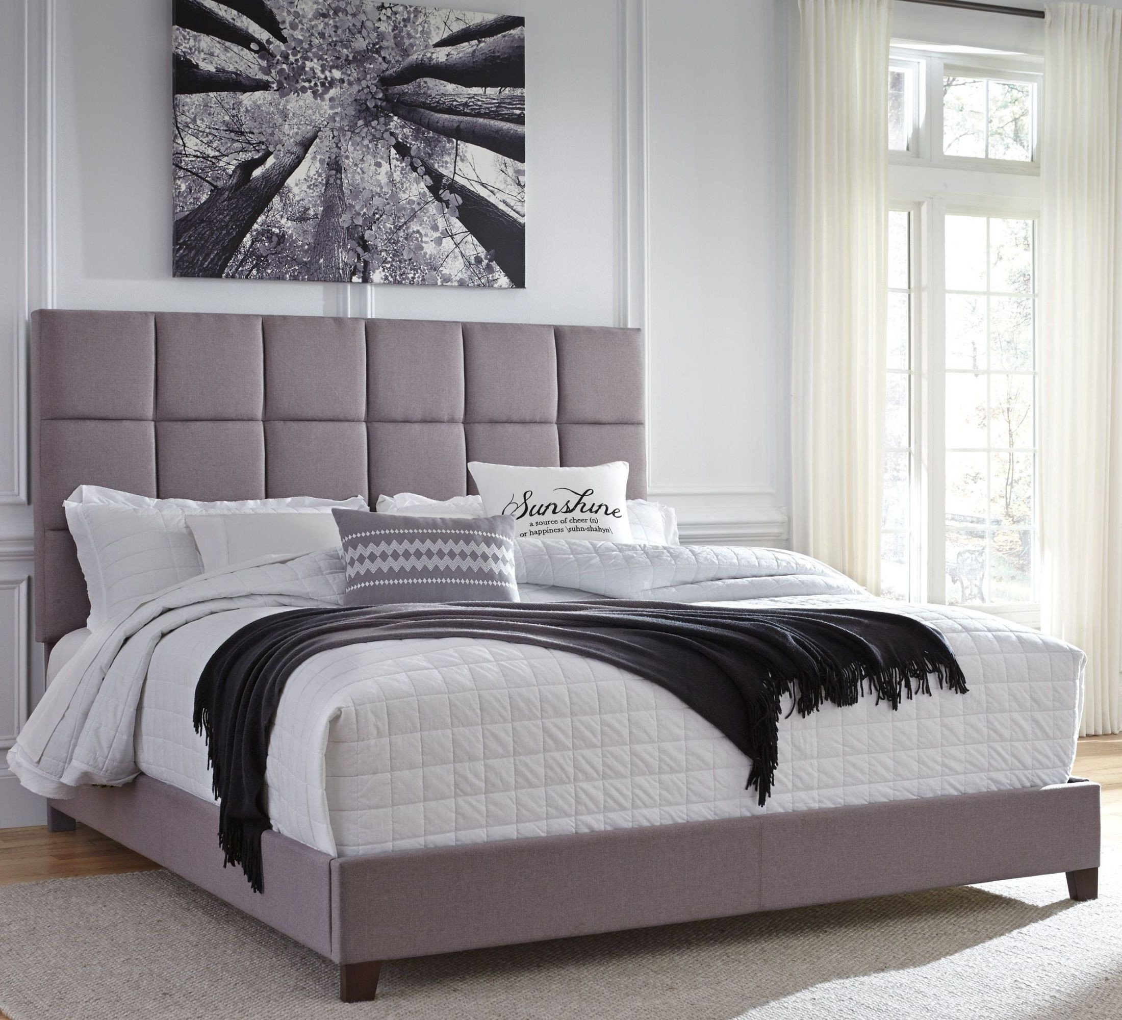 contemporary king upholstered panel bed from ashley coleman furniture. Black Bedroom Furniture Sets. Home Design Ideas