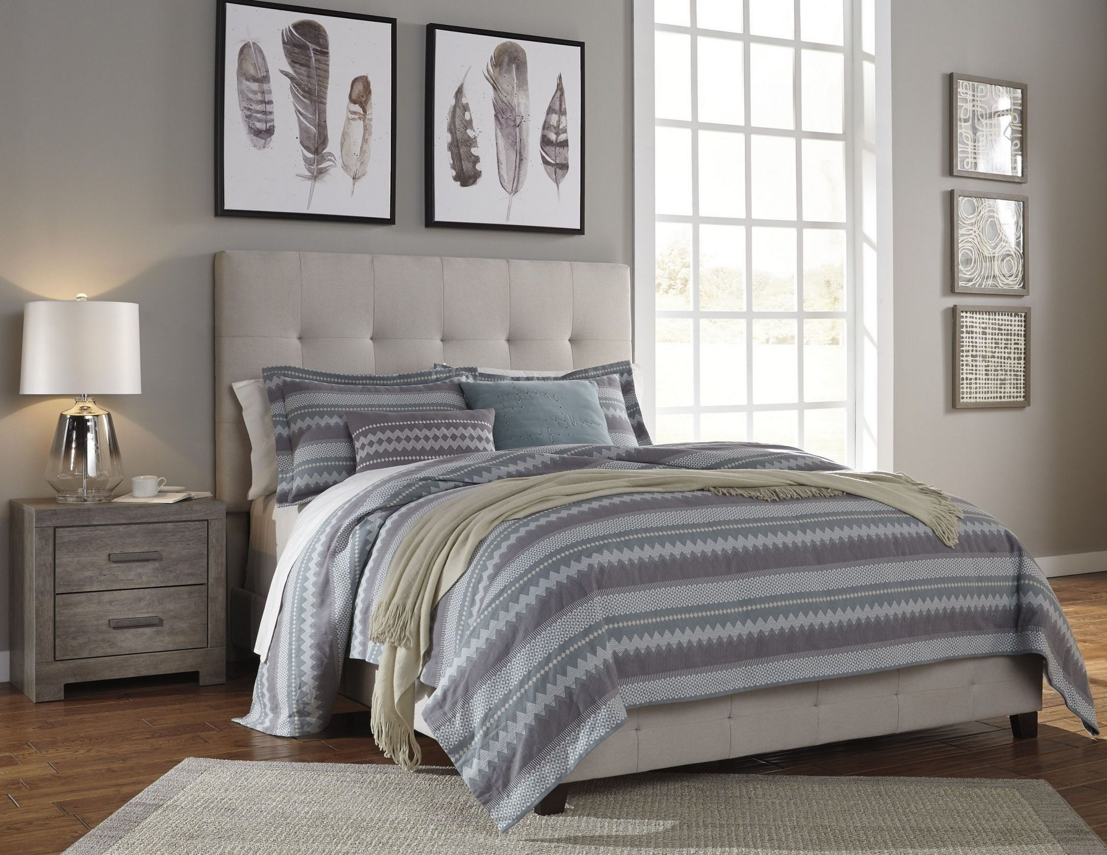 Contemporary Cream Upholstered Panel Bedroom Set from ...