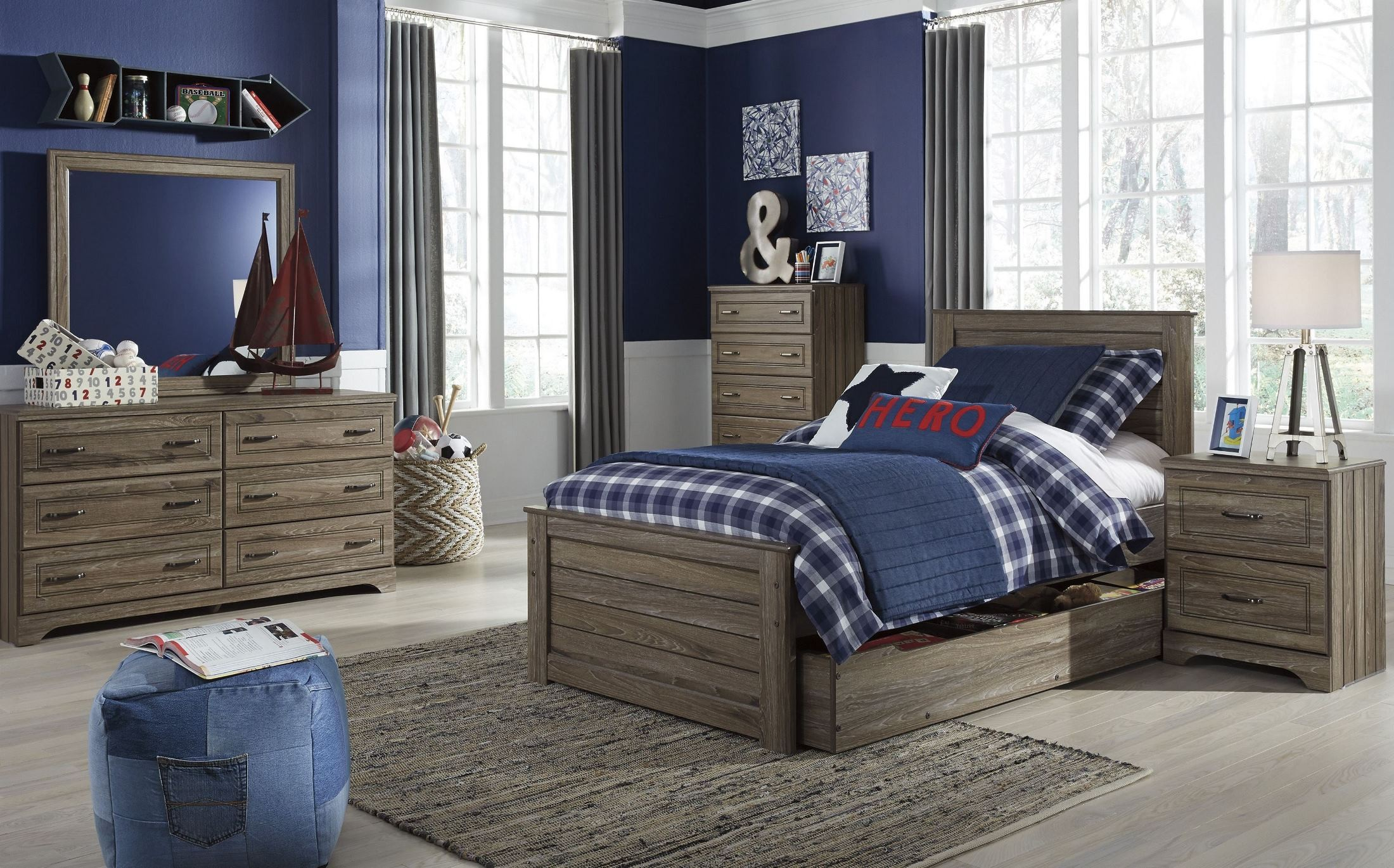 javarin grayish brown youth trundle panel bedroom set from ashley