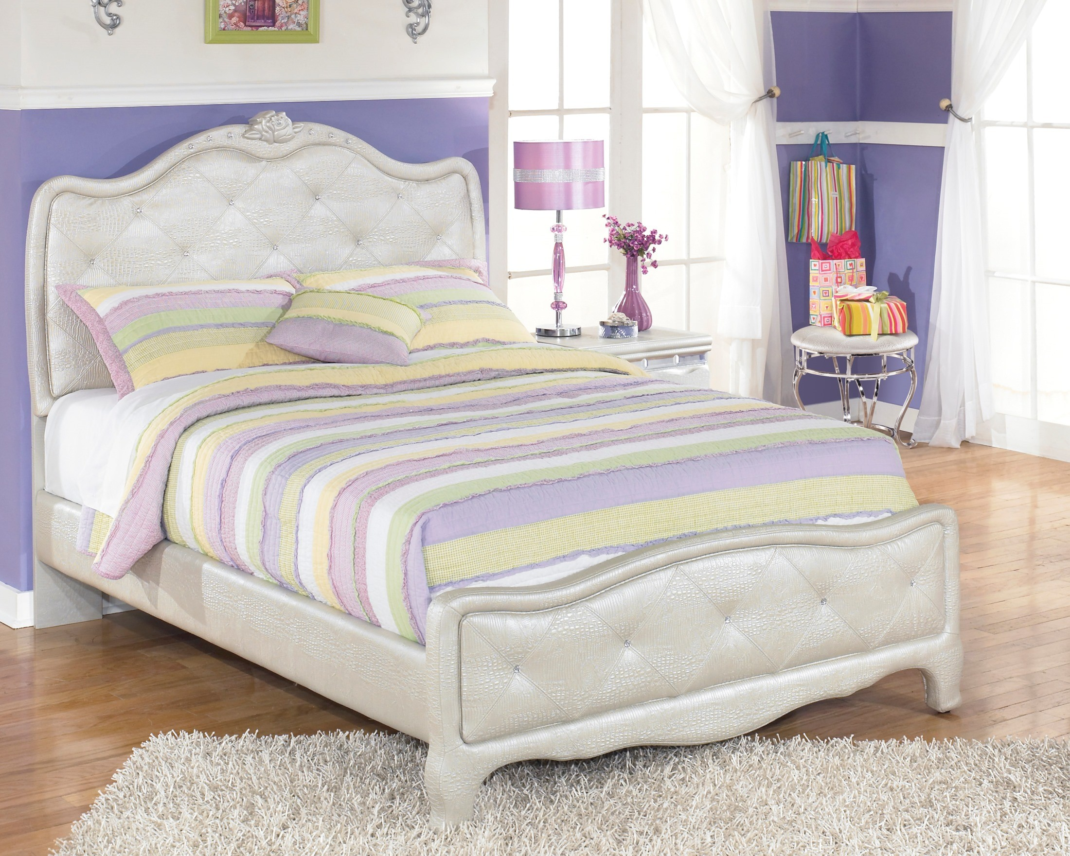 Zarollina full upholstered panel bed from ashley b182 77 - Complete bedroom sets with mattress ...